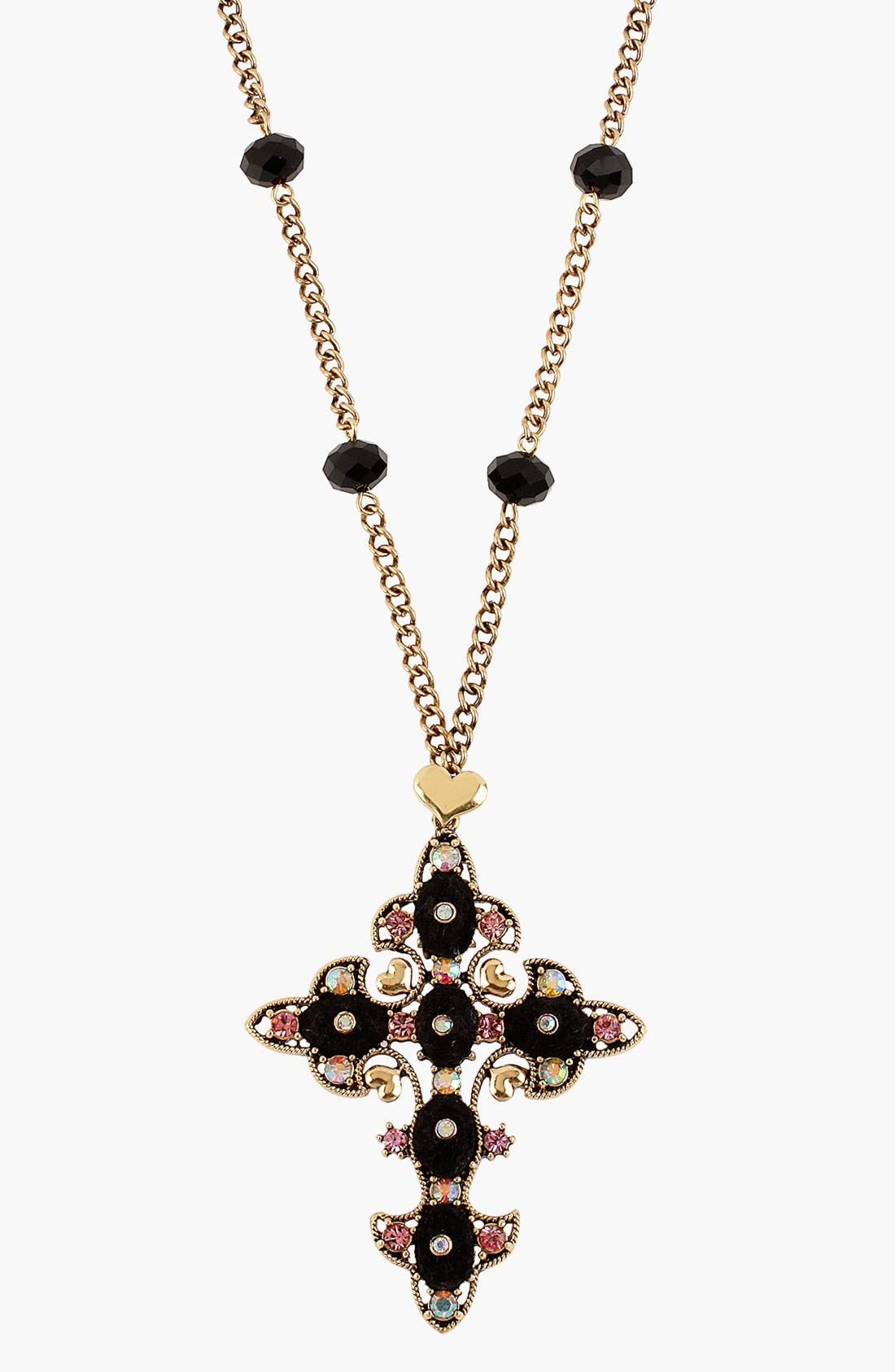 Alternate Image 1 Selected - Betsey Johnson 'Angel & Devil' Cross Necklace