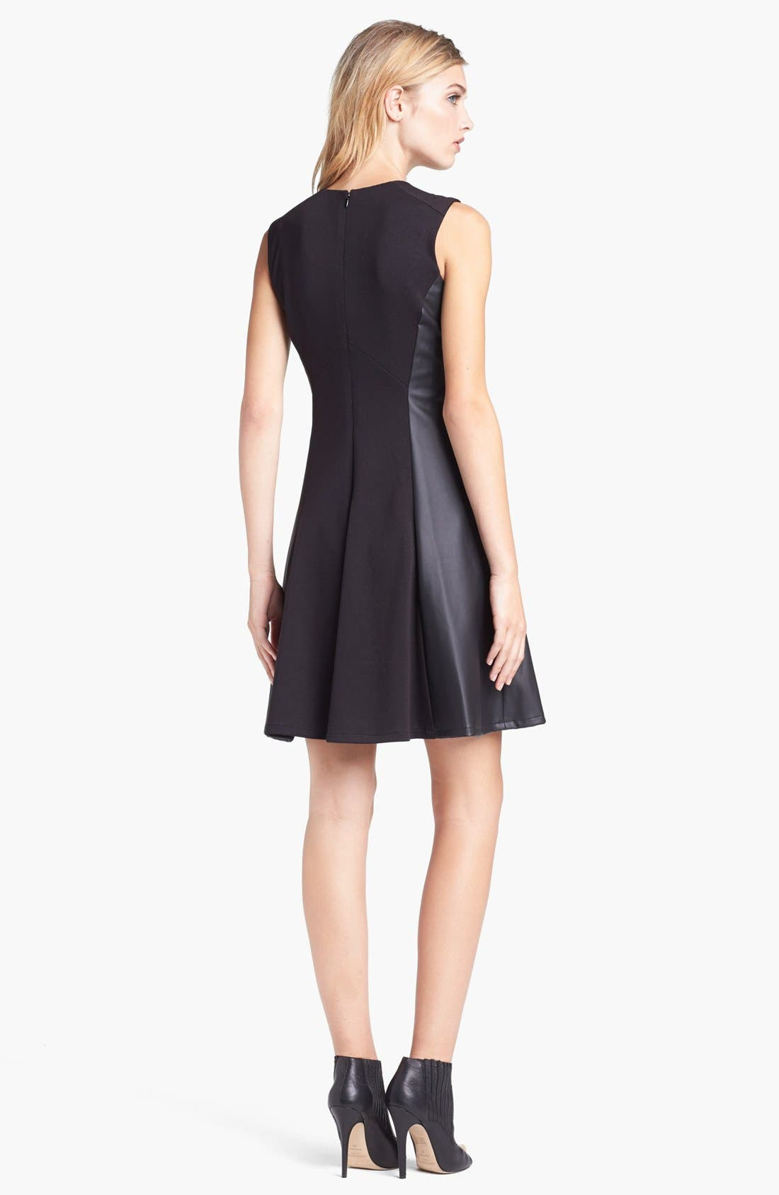 Alternate Image 2  - Vince Camuto Faux Leather Panel Fit & Flare Dress