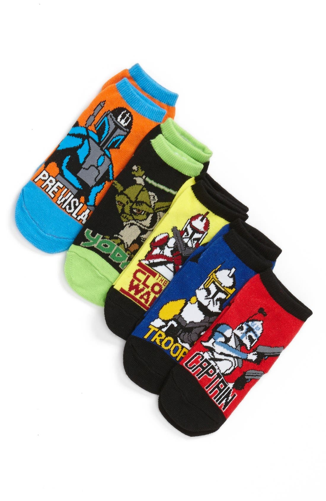 Alternate Image 1 Selected - Star Wars 'Clone Wars' Socks (Assorted 5-Pack) (Toddler Boys & Little Boys)
