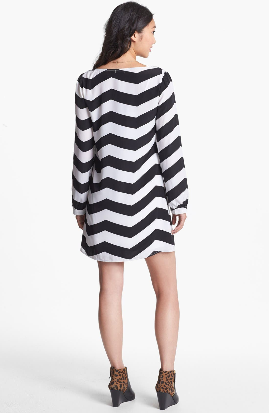 Alternate Image 2  - Stoosh Chevron Print Trapeze Dress (Juniors)