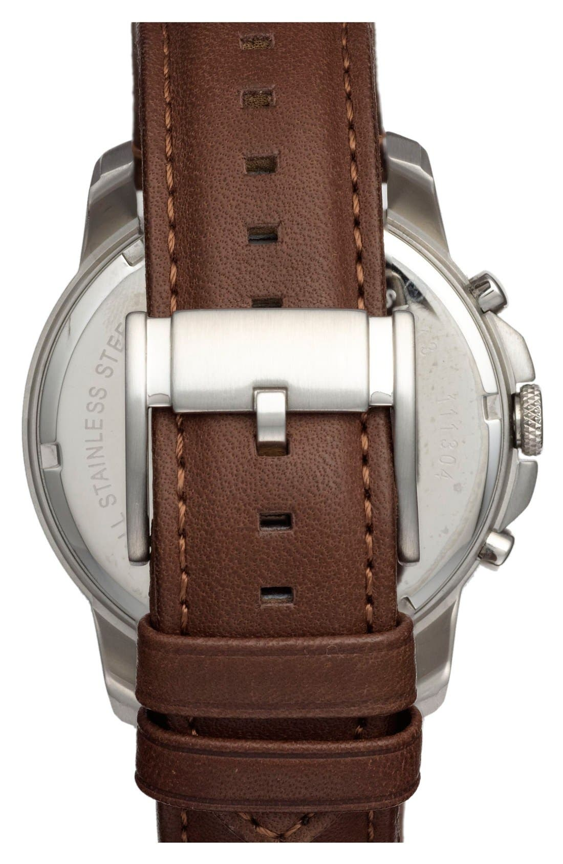 'Grant' Round Chronograph Leather Strap Watch, 44mm,                             Alternate thumbnail 2, color,                             Brown/ Black