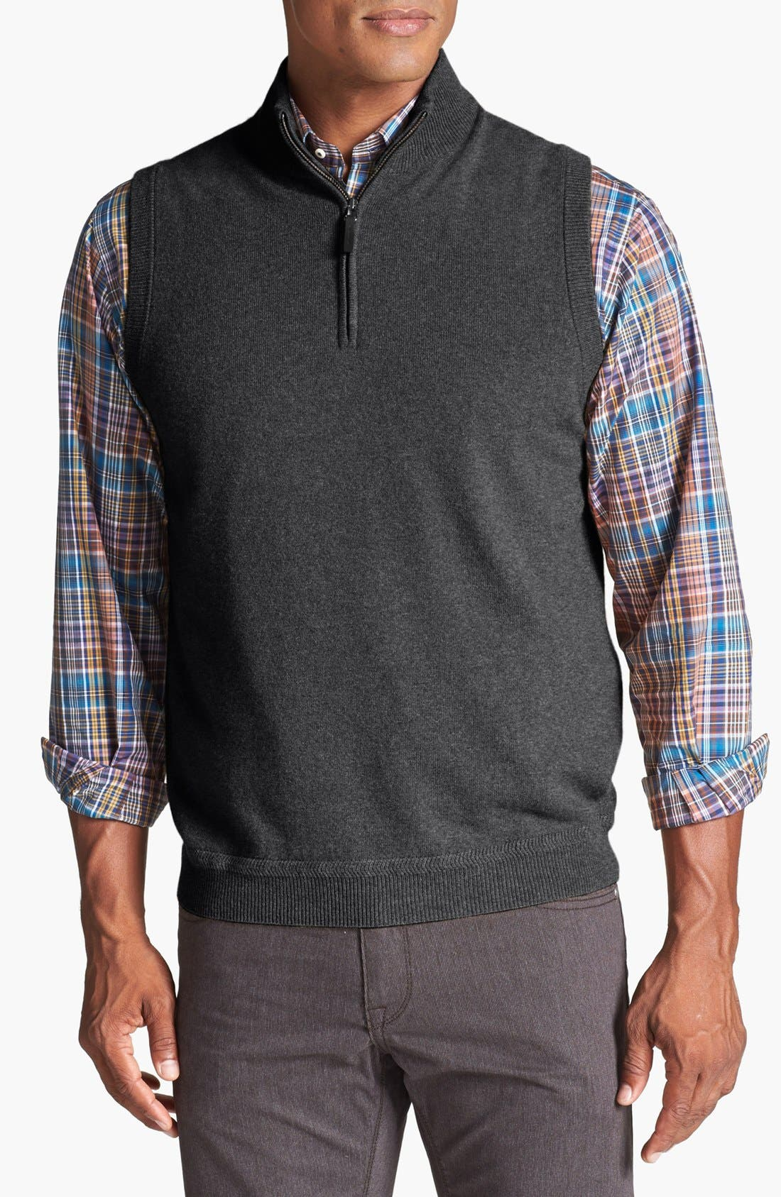 Alternate Image 1 Selected - John W. Nordstrom® Half Zip Cashmere Vest