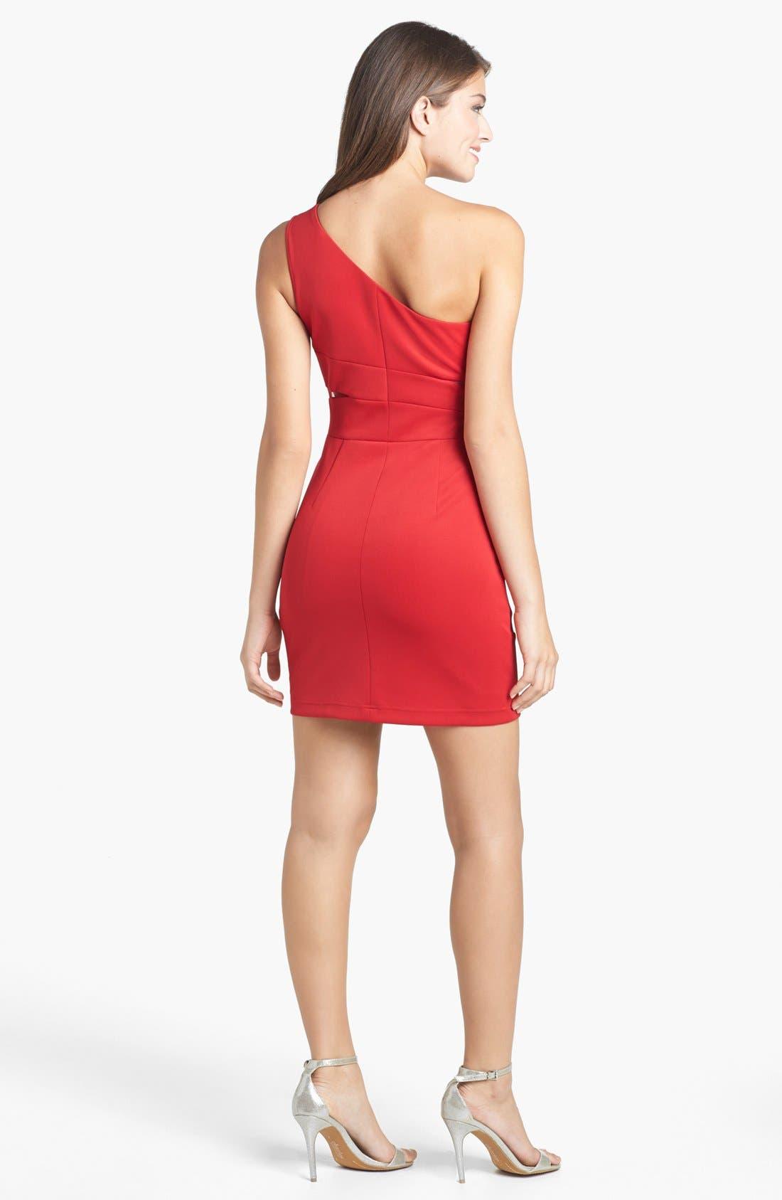 Alternate Image 2  - Hailey Logan Mesh Inset One-Shoulder Body-Con Dress (Juniors)