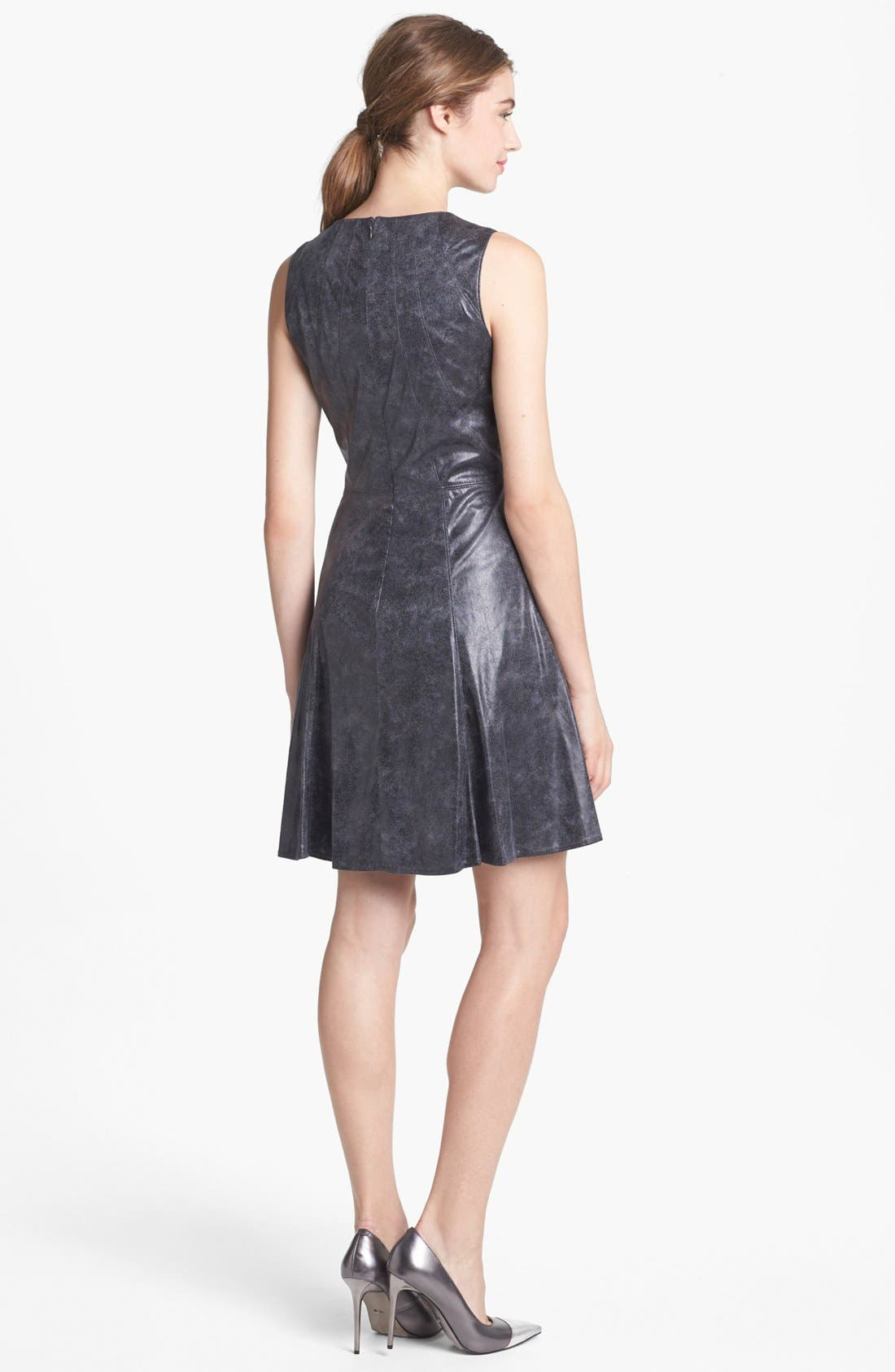 Alternate Image 2  - Vince Camuto Faux Leather Fit & Flare Dress