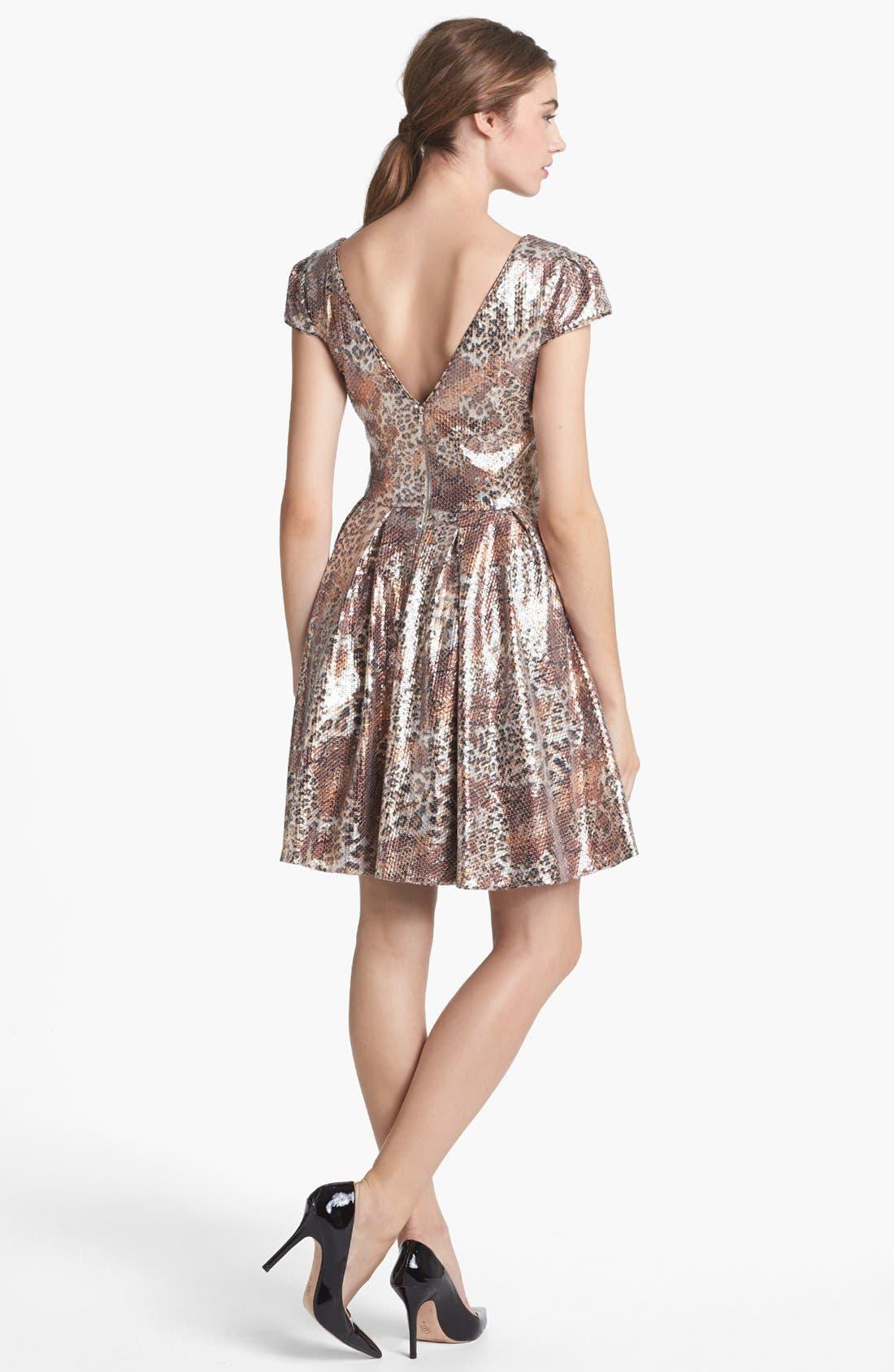 Alternate Image 2  - Betsey Johnson Sequin Print Fit & Flare Dress