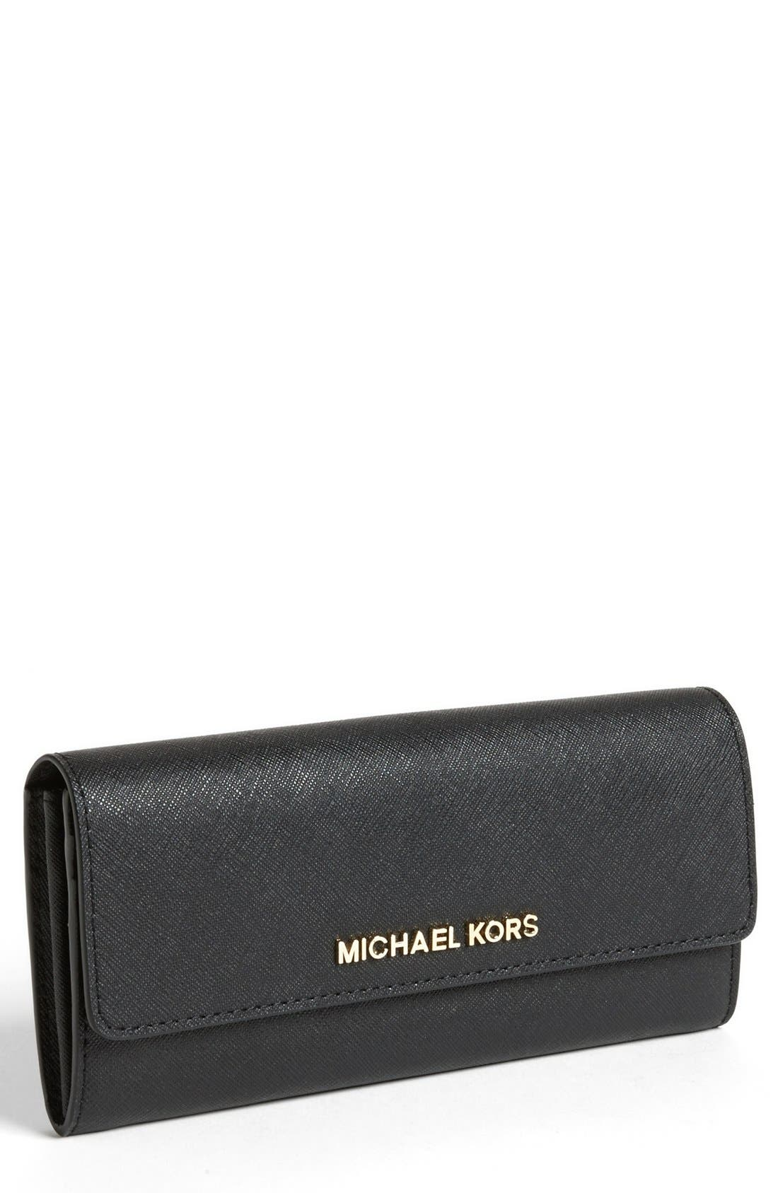 Main Image - MICHAEL Michael Kors Saffiano Leather Carryall Wallet