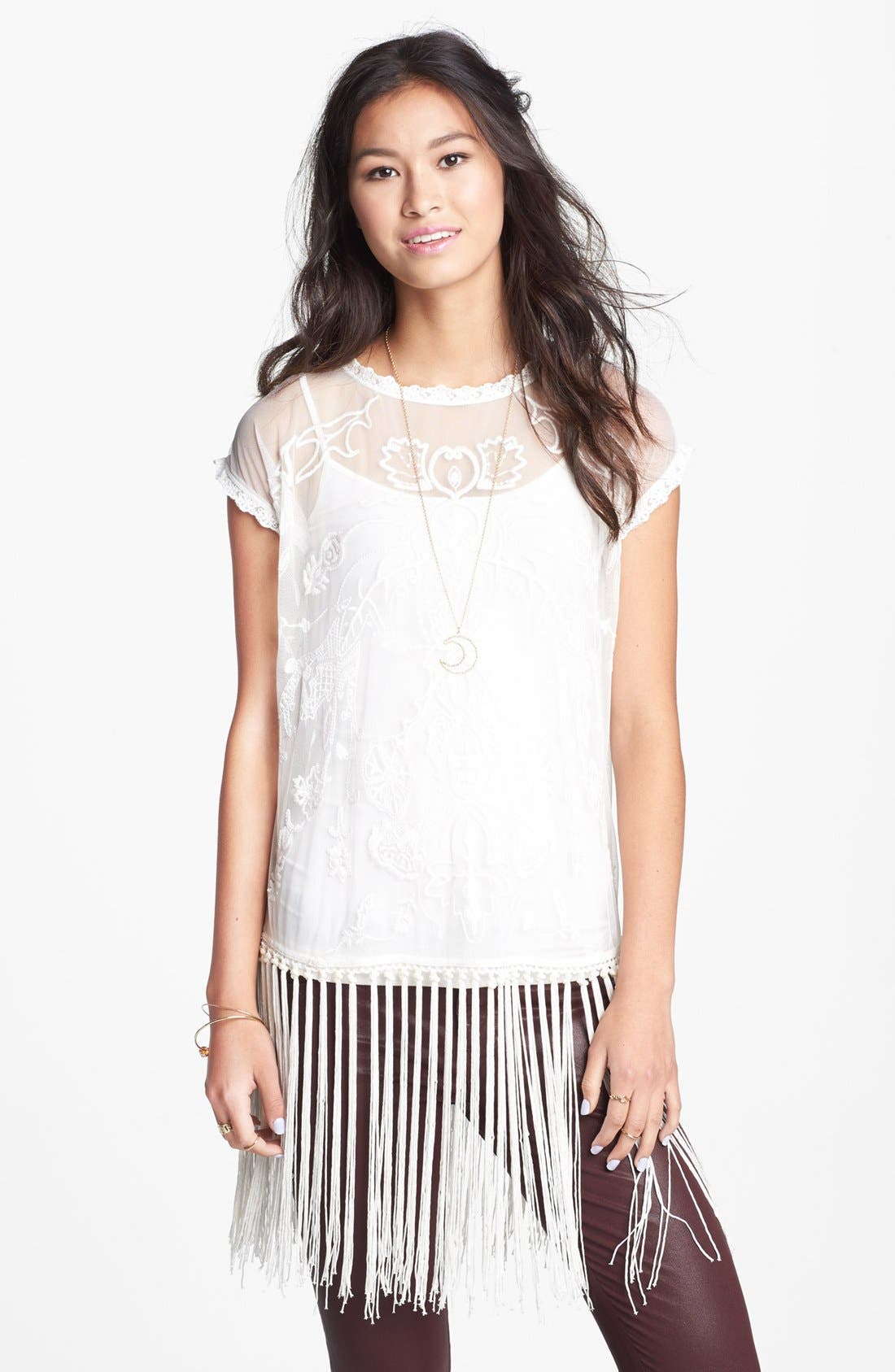 Main Image - Haute Society Embroidered Mesh Fringe Top (Juniors)
