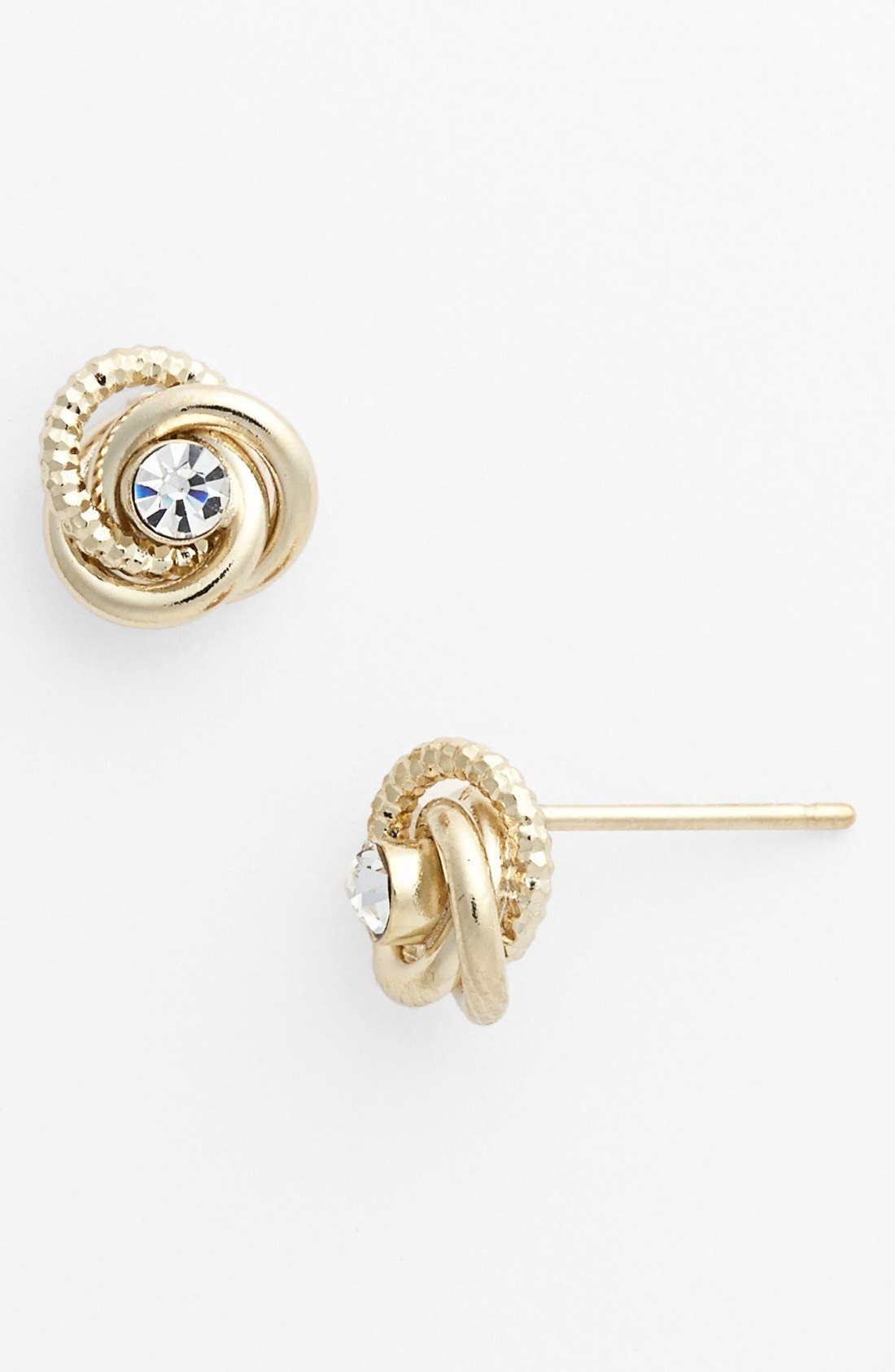 Alternate Image 1 Selected - Rachel Rhinestone Knot Stud Earrings (Juniors)