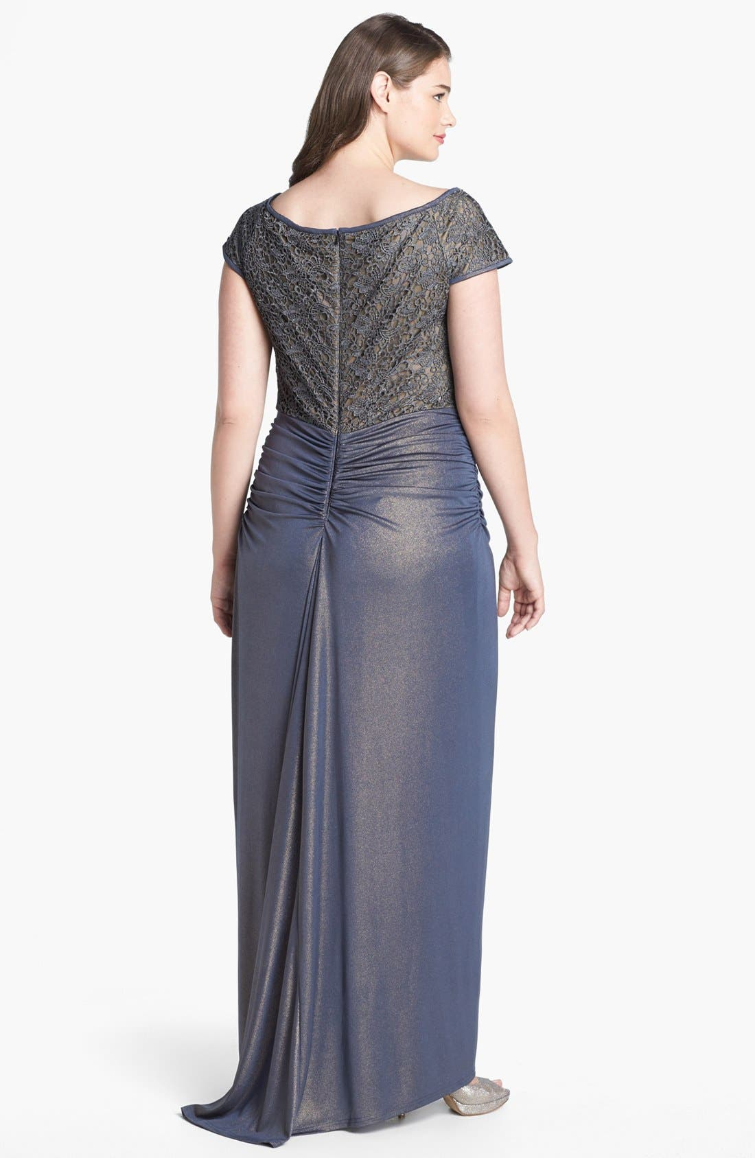Alternate Image 2  - Tadashi Shoji Metallic Lace & Jersey Gown (Plus Size)