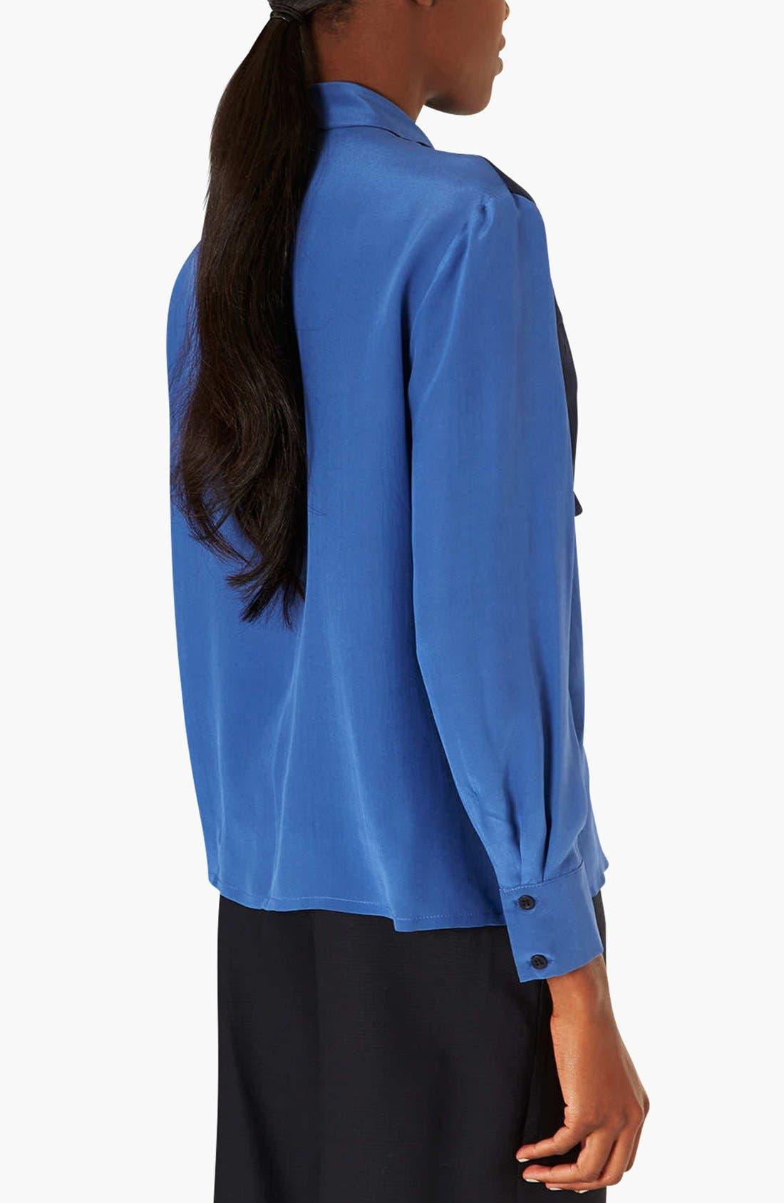 Alternate Image 2  - Topshop Colorblock Silk Shirt