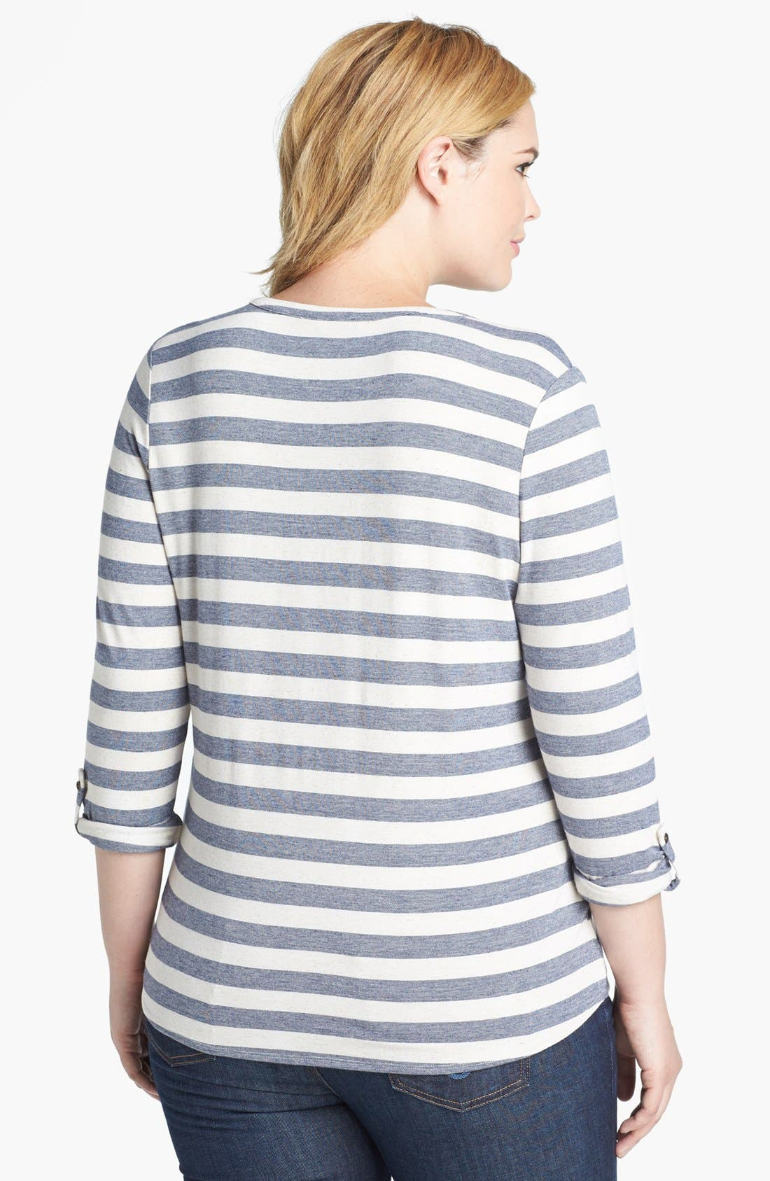 Alternate Image 2  - Lucky Brand 'Dallas' Stripe Top (Plus Size)