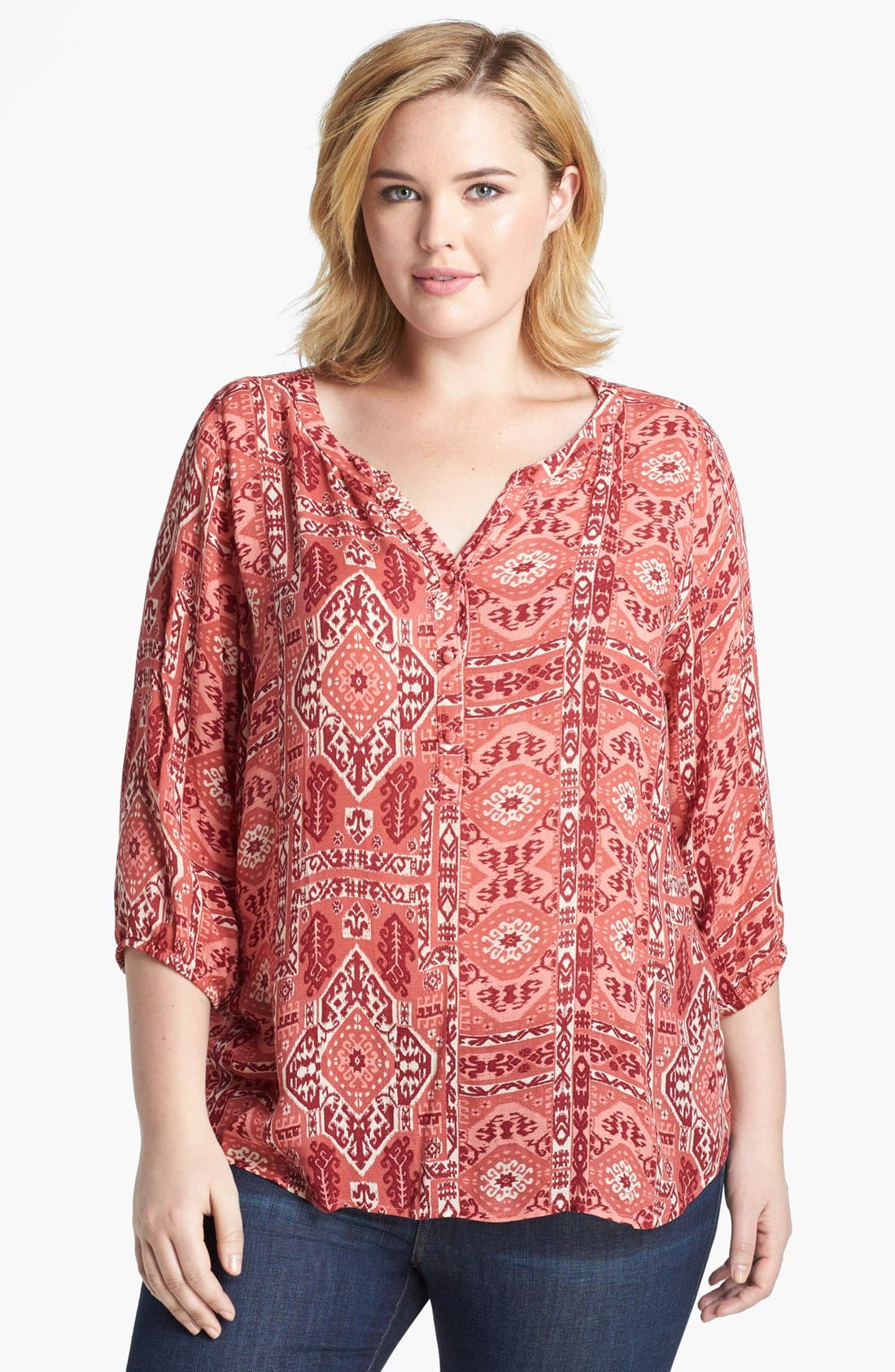 Alternate Image 1 Selected - Lucky Brand 'Ikat Canyon' Top (Plus Size)