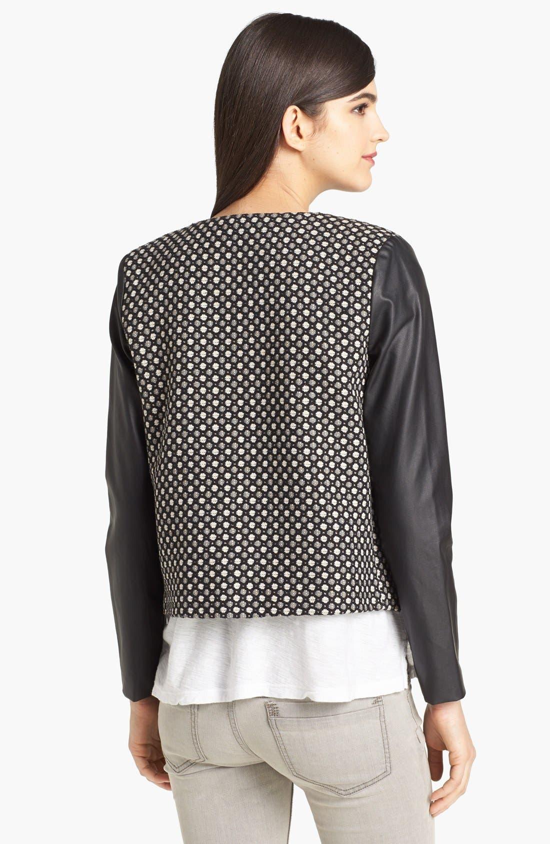 Alternate Image 2  - Pure Sugar Faux Leather Sleeve Jacquard Jacket