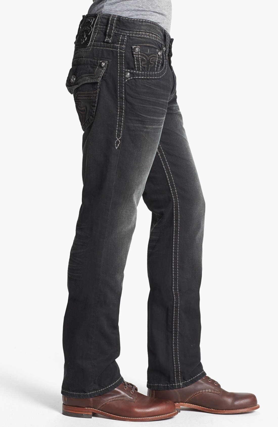 Alternate Image 3  - Rock Revival 'Chopper' Straight Leg Jeans (Black)
