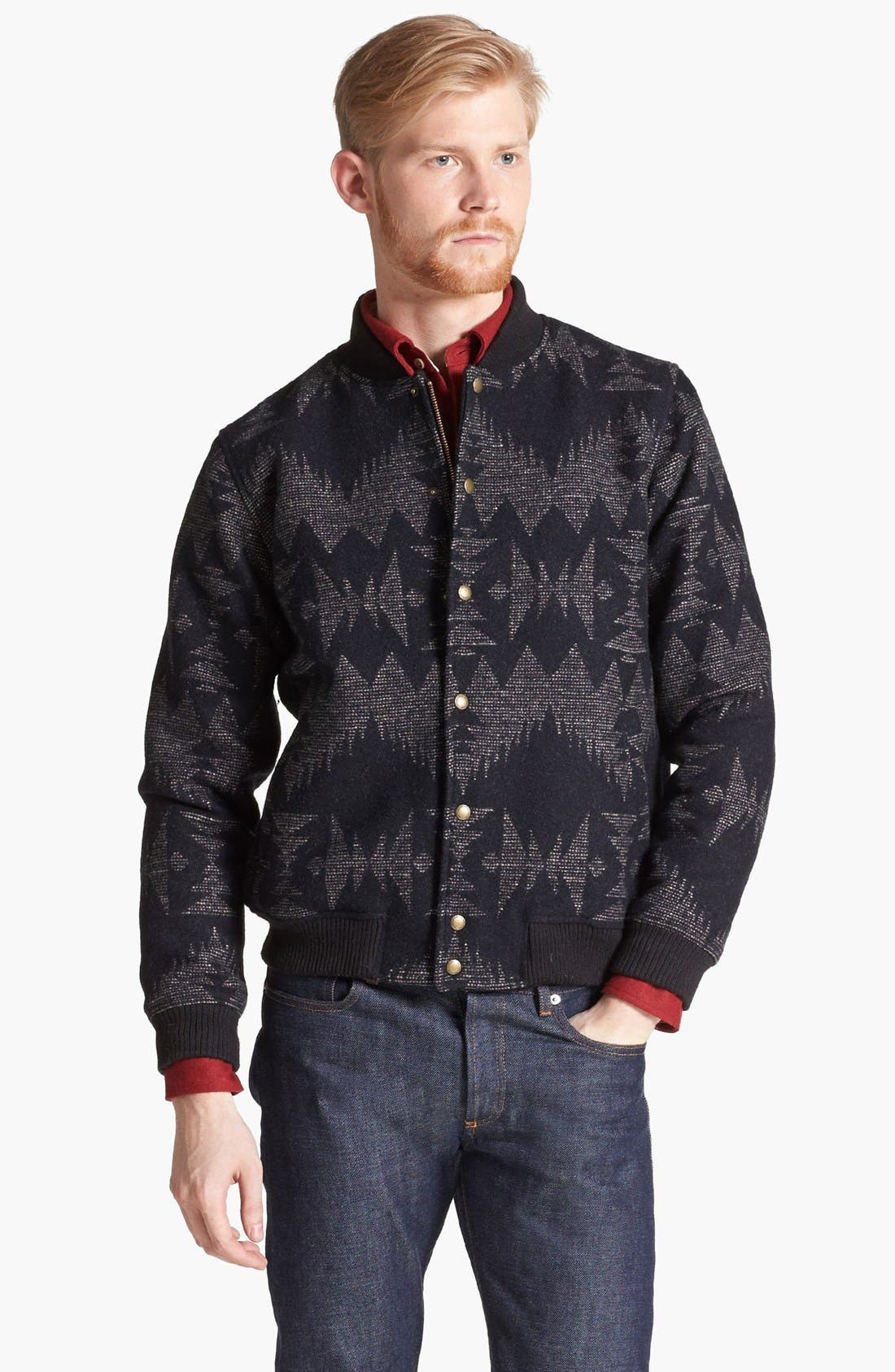 Alternate Image 1 Selected - Pendleton Portland Collection 'Franklin' Wool & Cotton Varsity Jacket