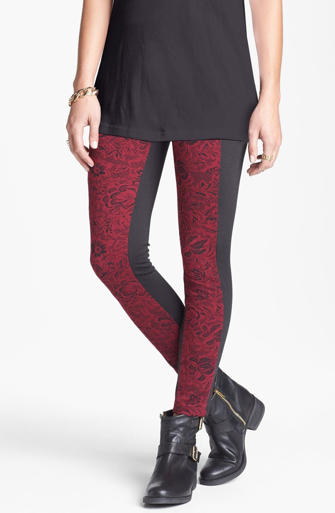 Alternate Image 1 Selected - Mimi Chica Brocade Pieced Leggings (Juniors)
