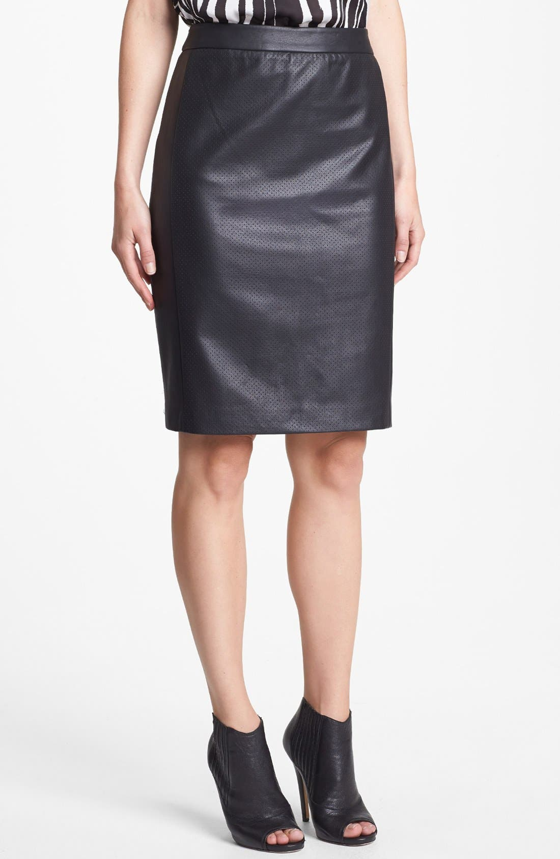 Main Image - Vince Camuto Perforated Faux Leather Pencil Skirt