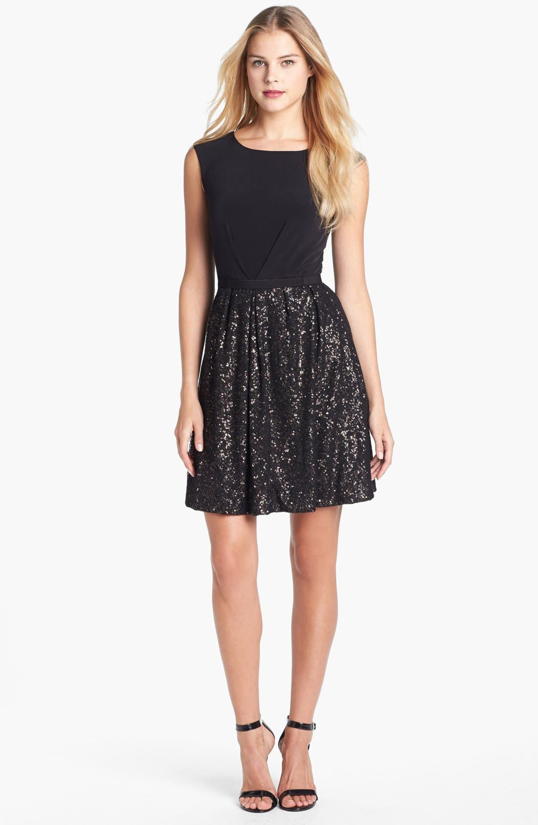 Alternate Image 1 Selected - Laundry by Shelli Segal Embellished Jersey Fit & Flare Dress