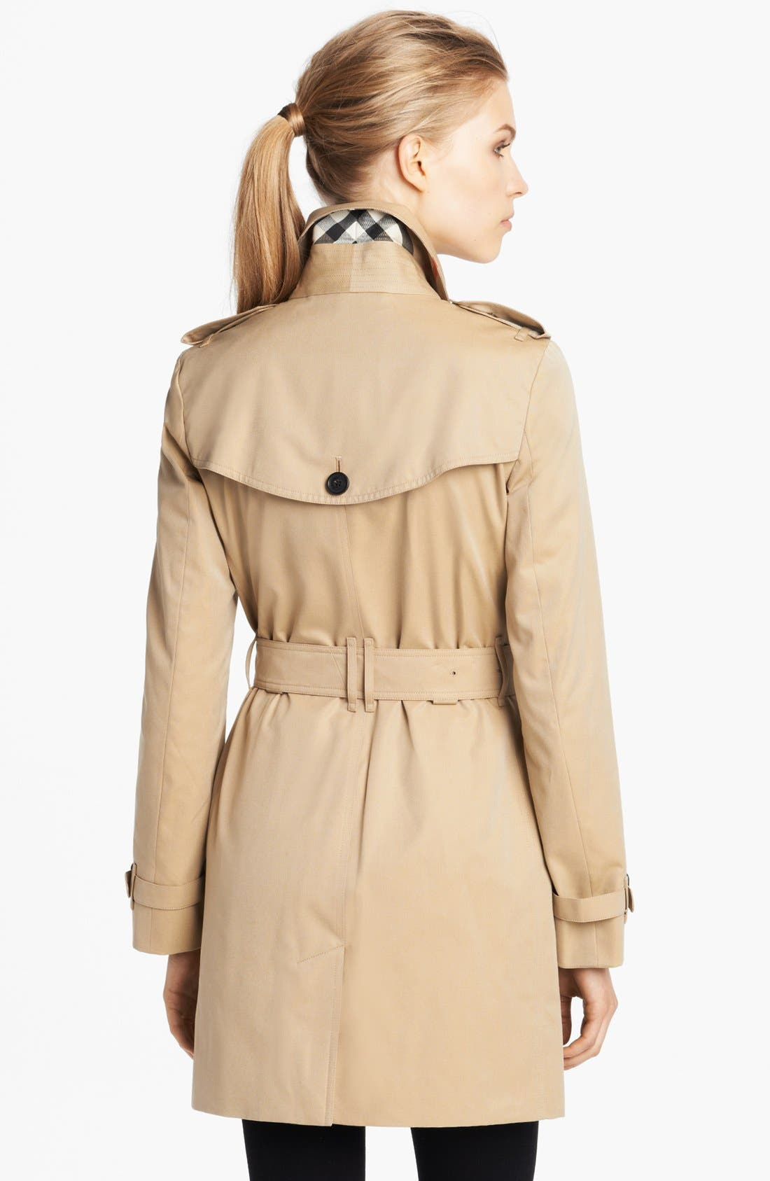 'Buckingham' Double Breasted Cotton Trench,                             Alternate thumbnail 2, color,                             Honey