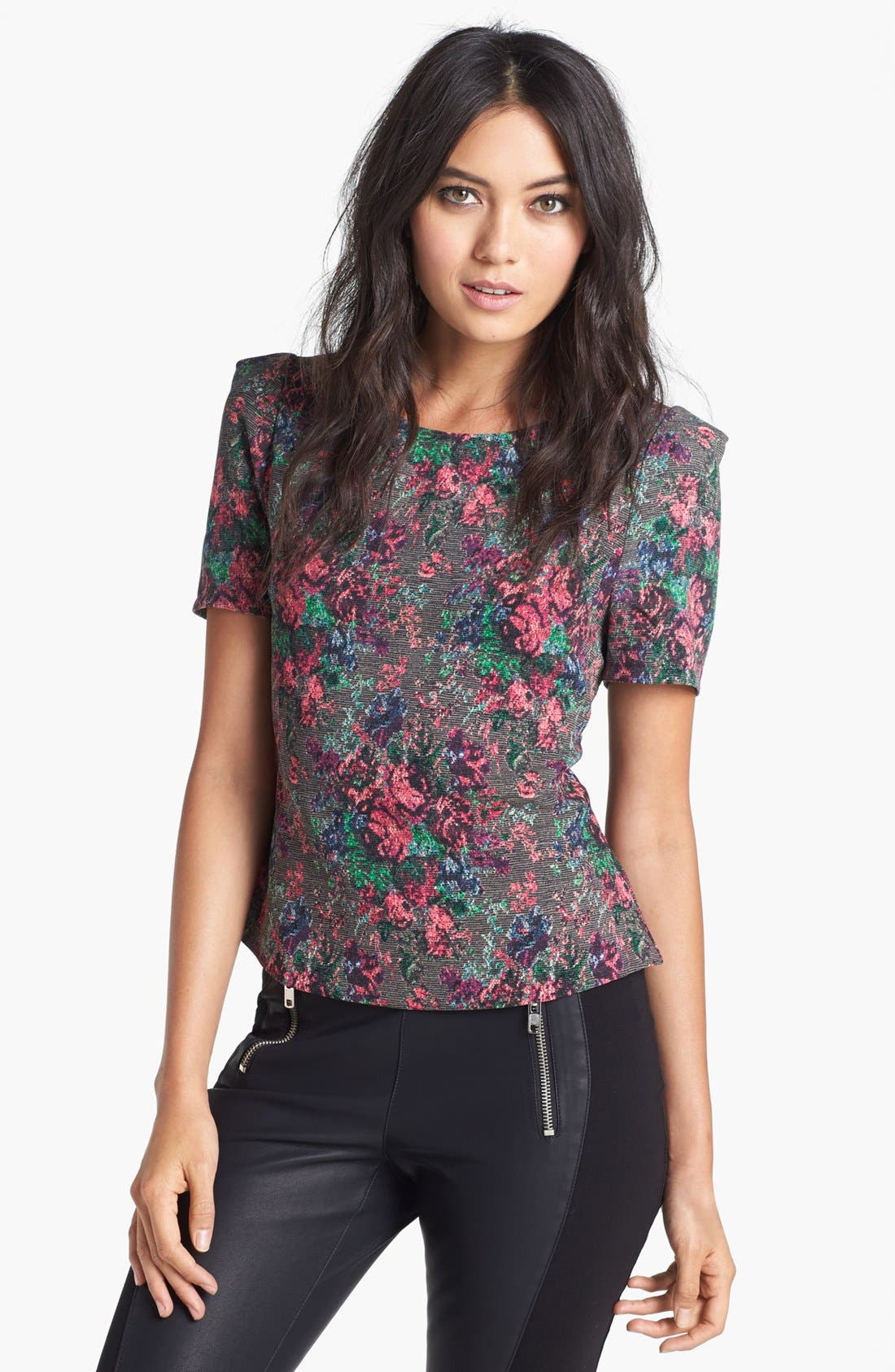 Alternate Image 1 Selected - ASTR Floral Peplum Blouse