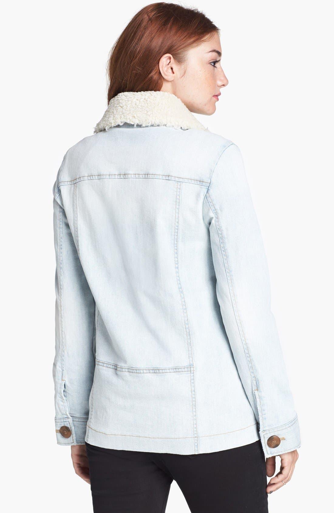Alternate Image 2  - Rubbish® Denim & Faux Shearling Coat (Juniors)
