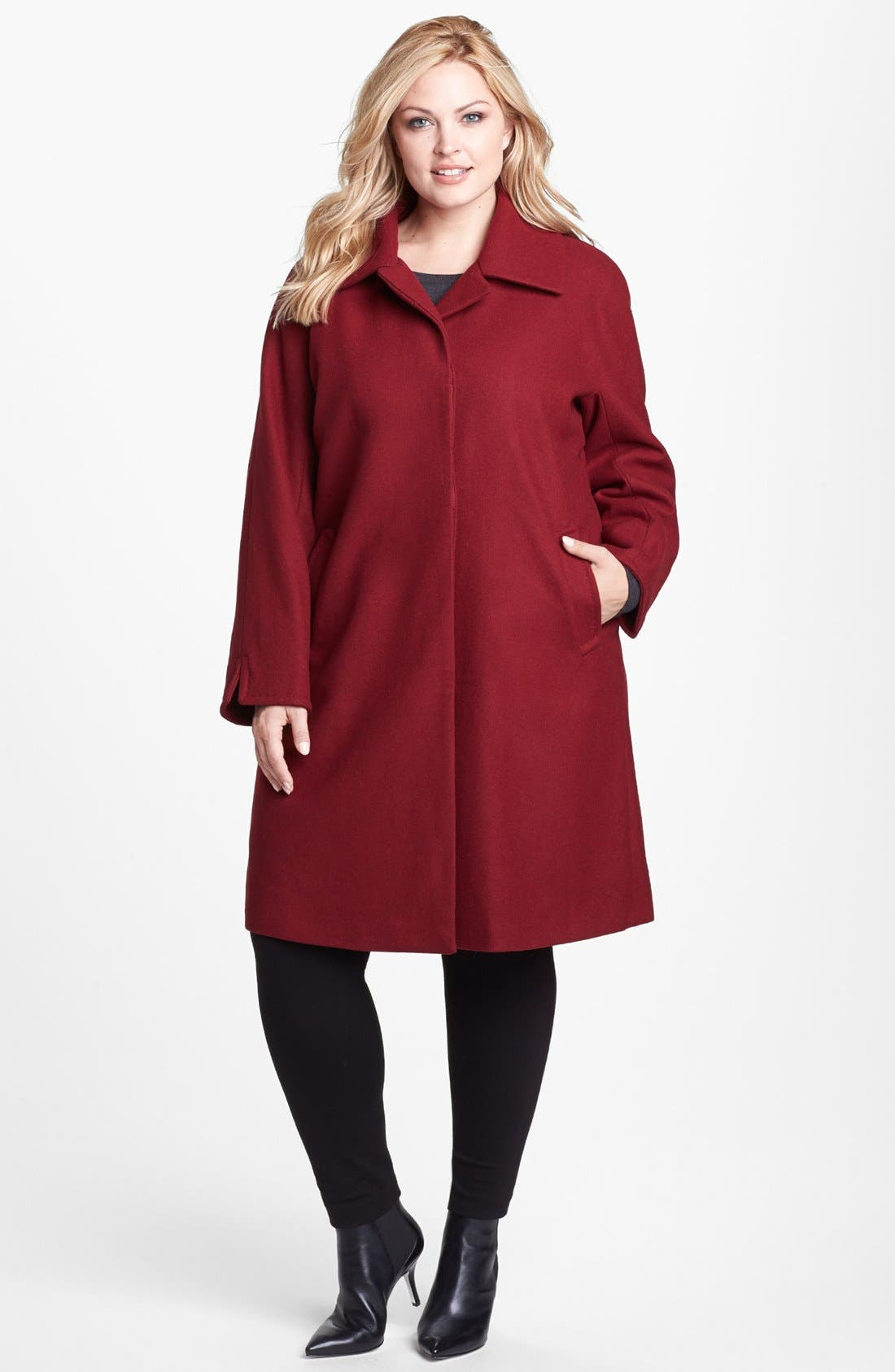Alternate Image 1 Selected - Ellen Tracy 'Clutch' Coat (Plus Size)