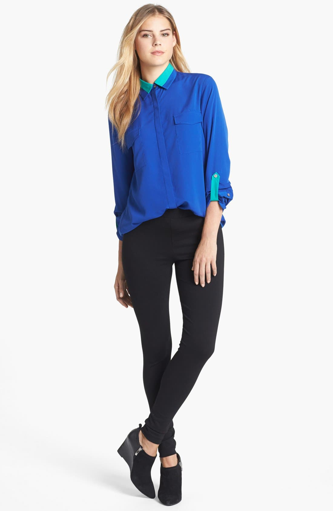 Alternate Image 4  - Two by Vince Camuto Colorblock Roll Tab Sleeve Blouse
