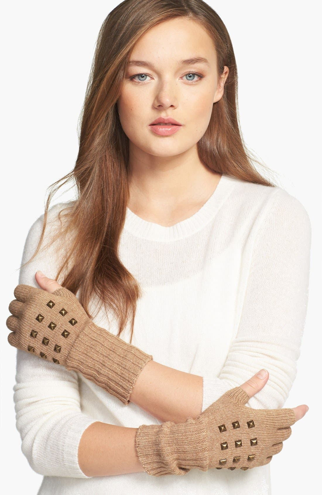 Alternate Image 1 Selected - Lauren Ralph Lauren Studded Fingerless Gloves