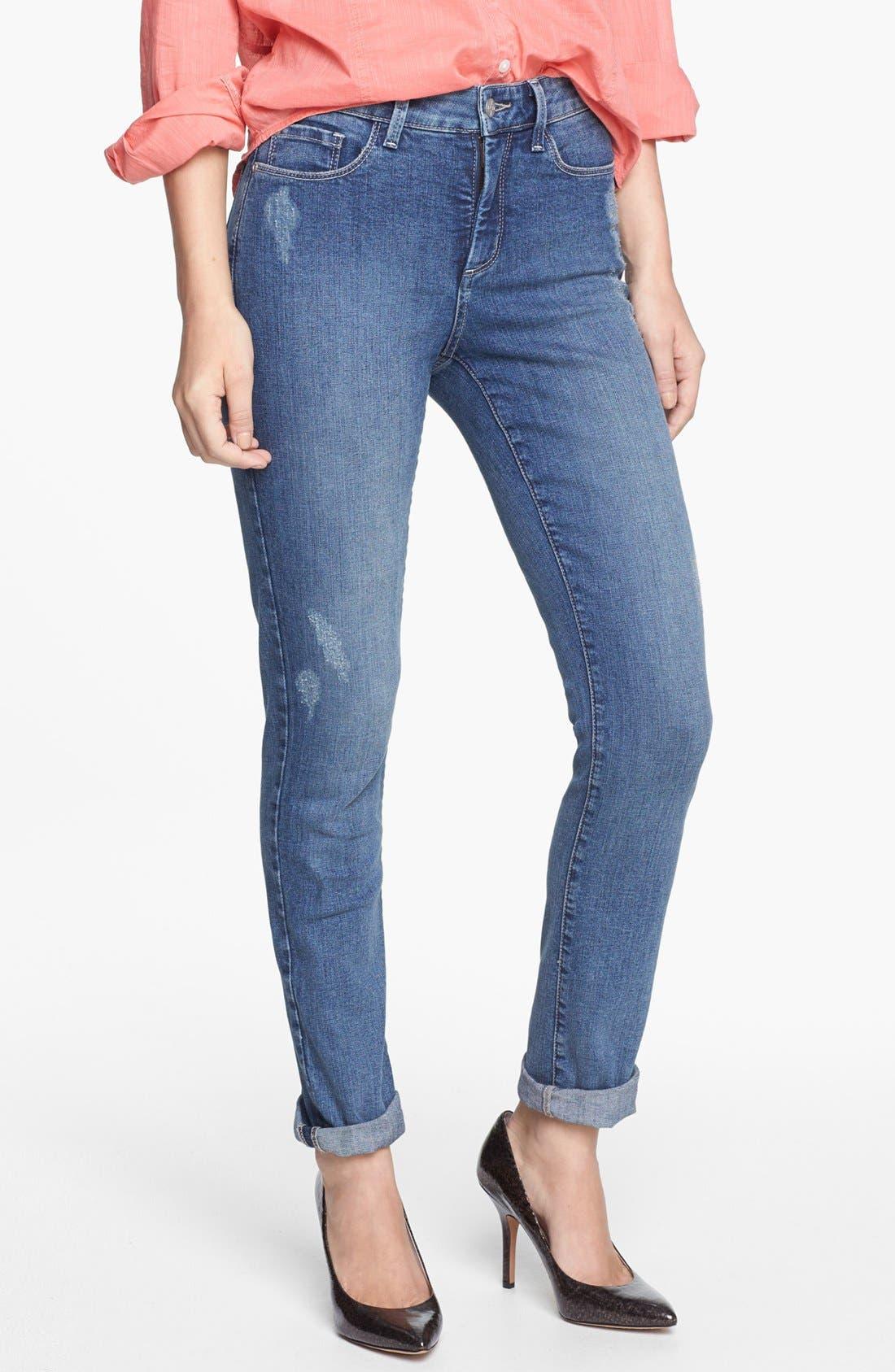 Alternate Image 4  - NYDJ 'Leann' Stretch Skinny Boyfriend Jeans (Lake Arrowhead) (Regular & Petite)