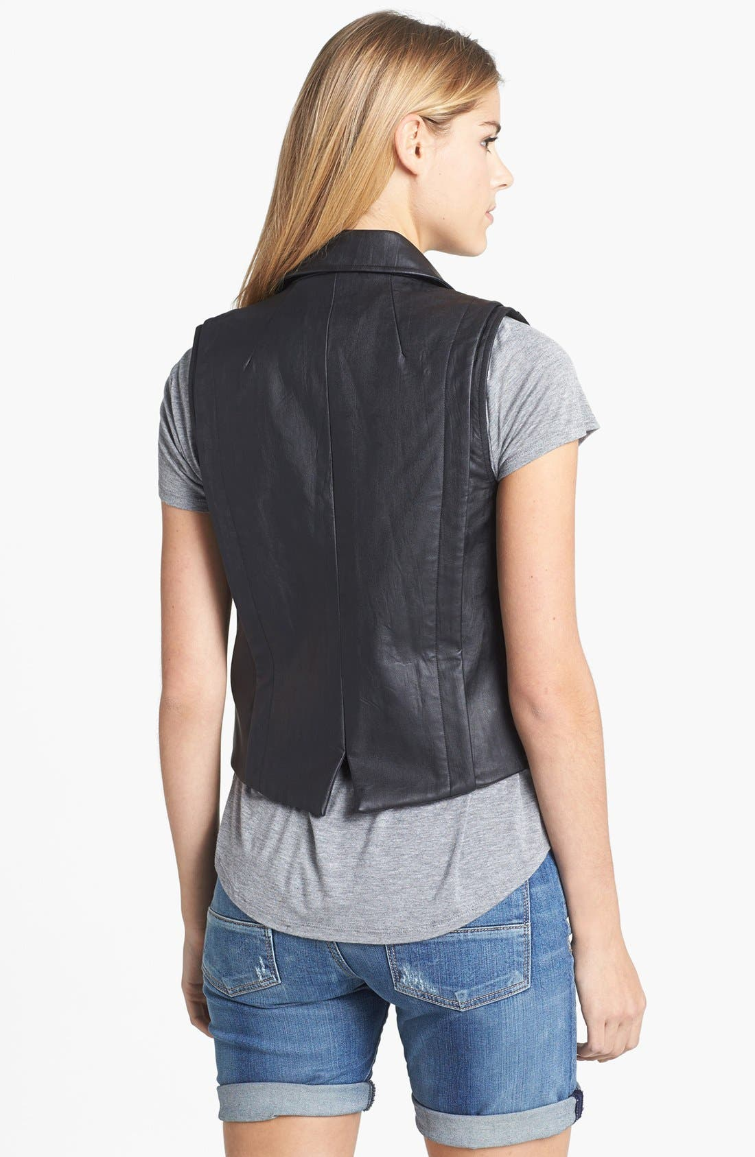 Alternate Image 2  - Two by Vince Camuto Faux Leather Moto Vest