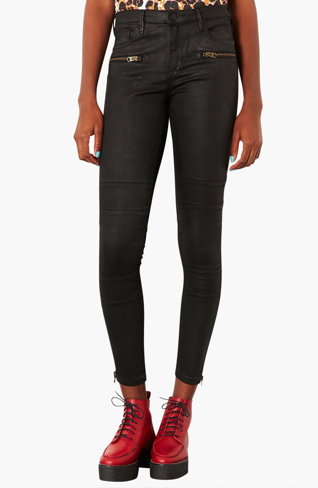 Main Image - Topshop Moto Seamed Coated Skinny Jeans (Short)