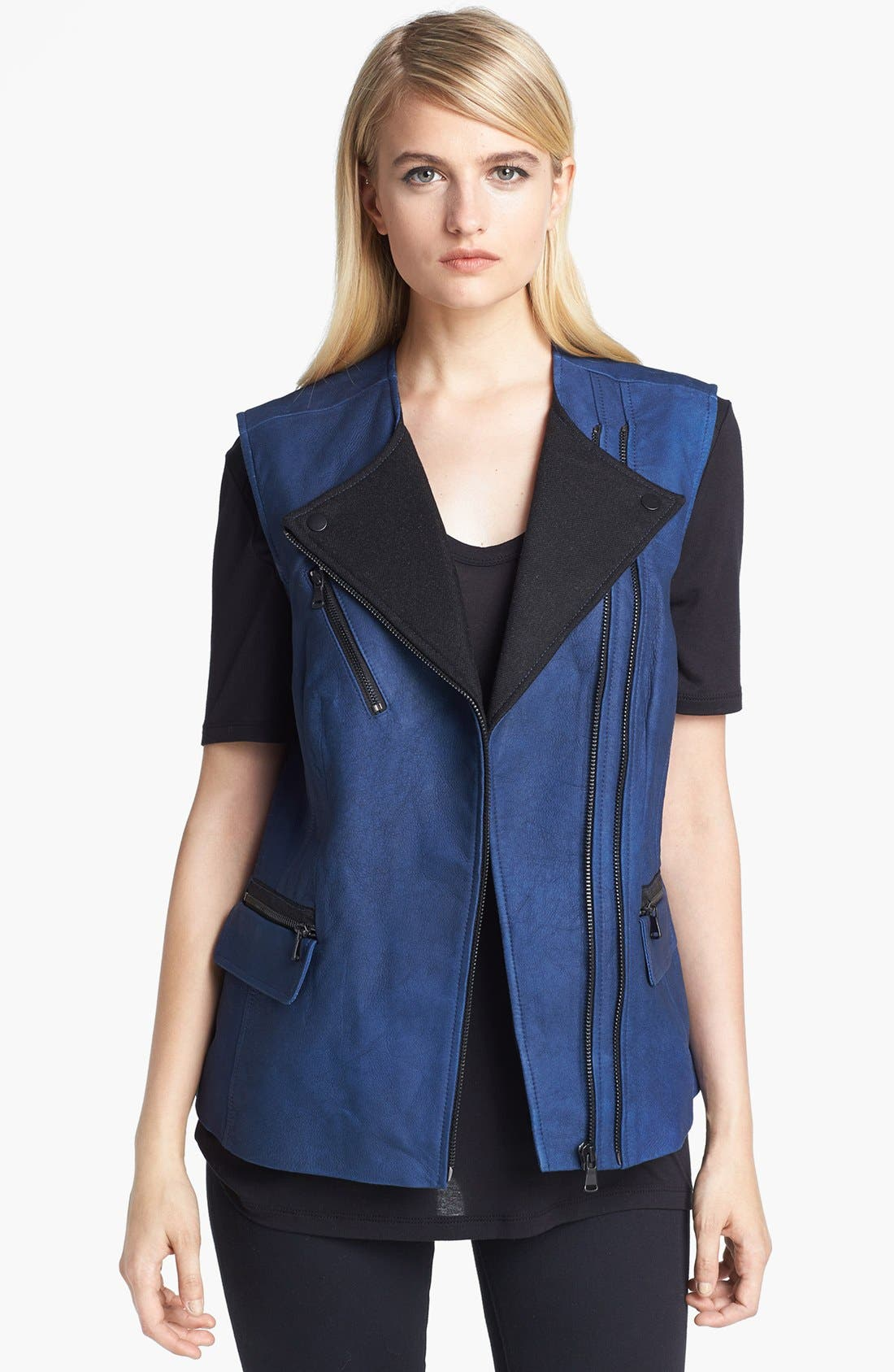 Alternate Image 1 Selected - Rebecca Taylor Leather & Wool Vest