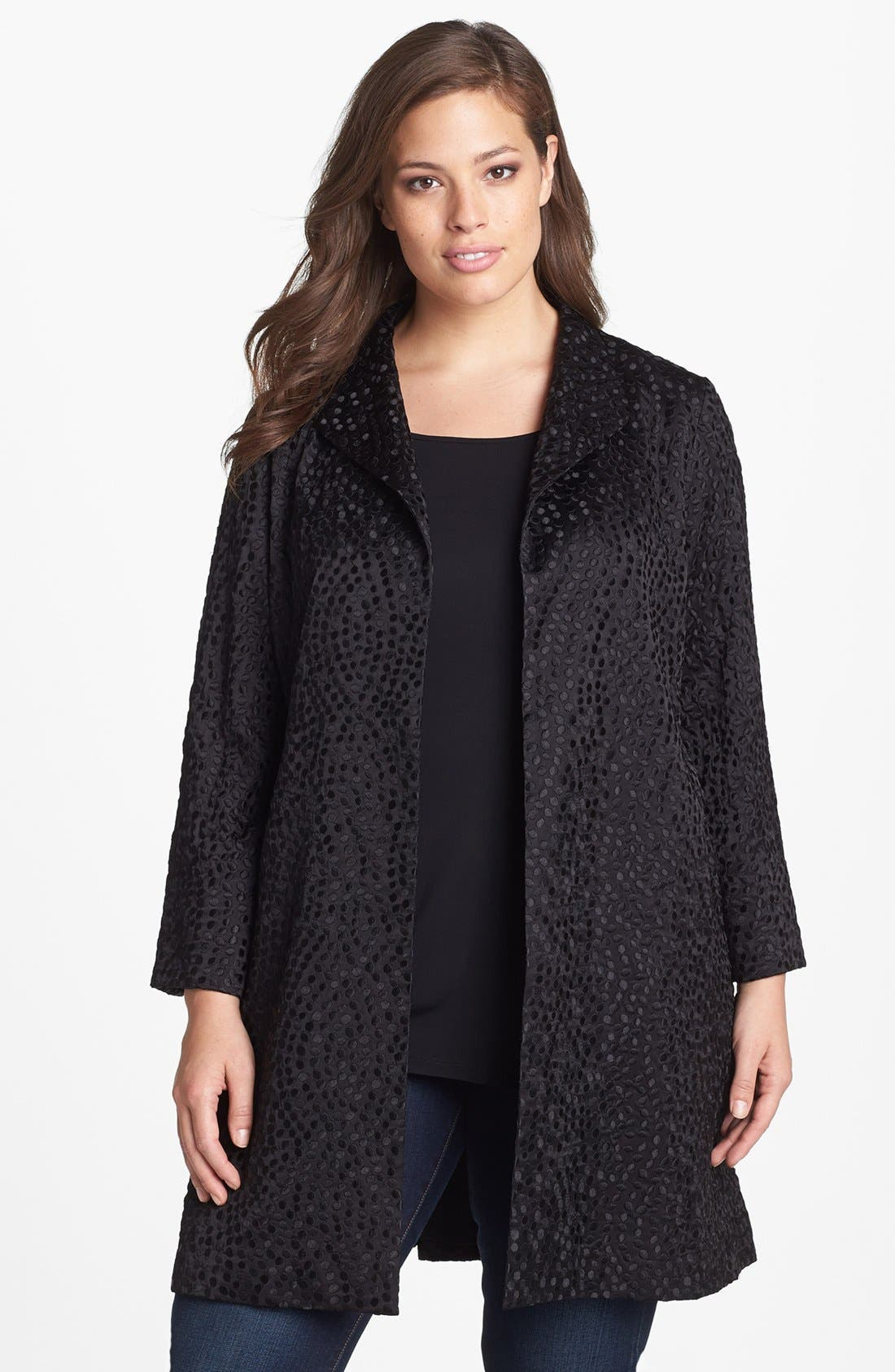 Alternate Image 1 Selected - Eileen Fisher Embroidered Silk Coat (Plus Size)