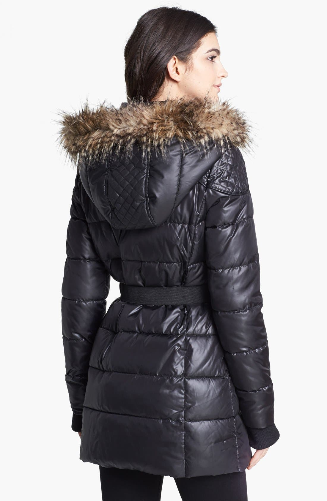 Alternate Image 2  - Circus by Sam Edelman Faux Fur Trim Quilted Coat (Online Only)