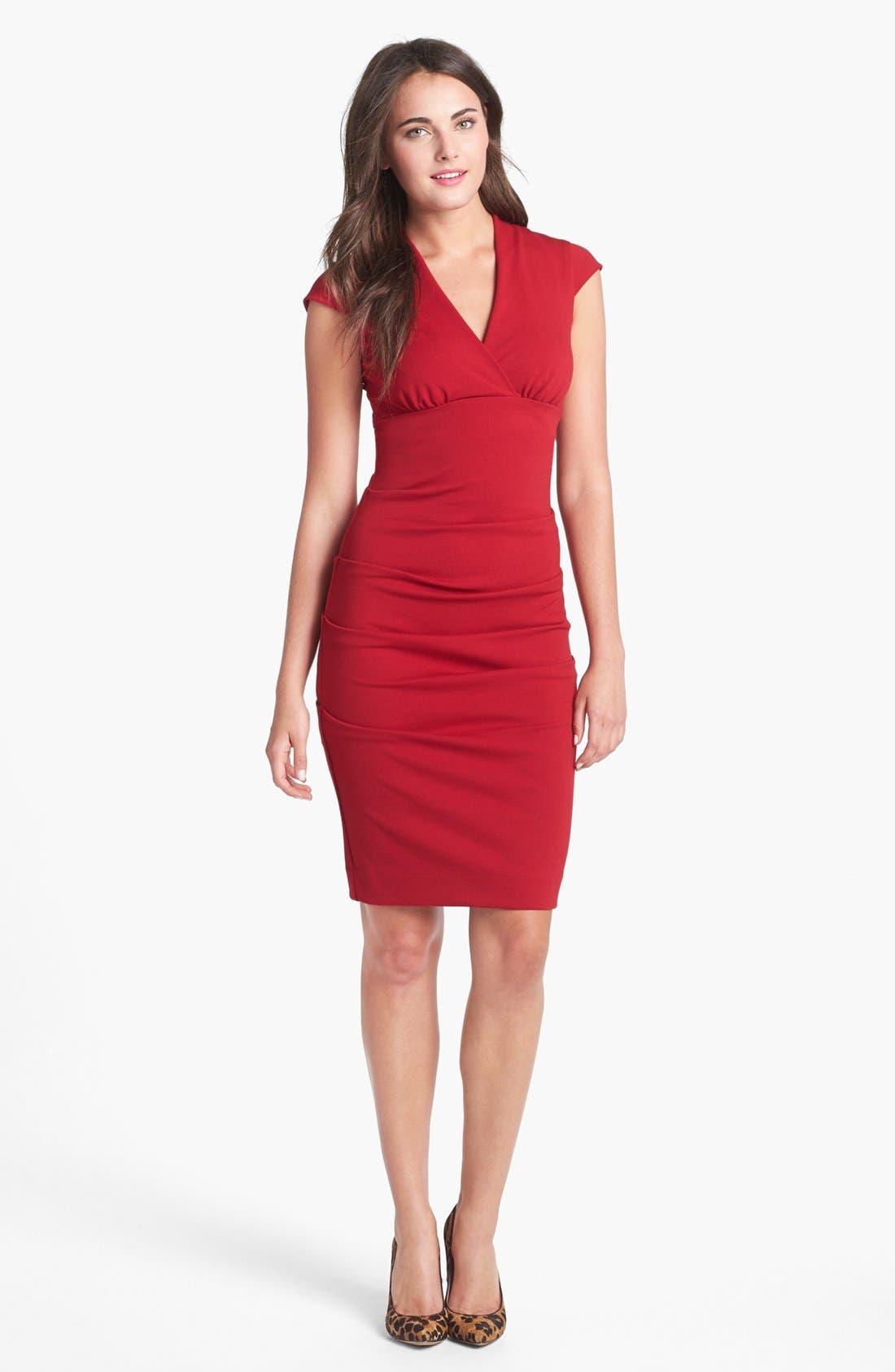 Main Image - Nicole Miller Ruched Cap Sleeve Knit Sheath Dress