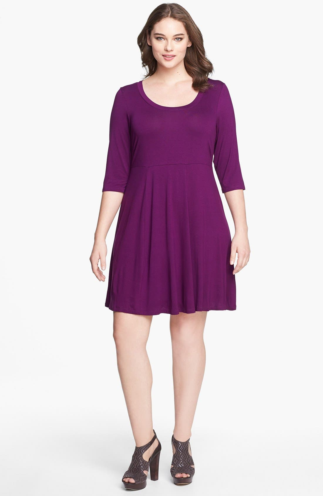 Main Image - Evans Skater Dress (Plus Size)