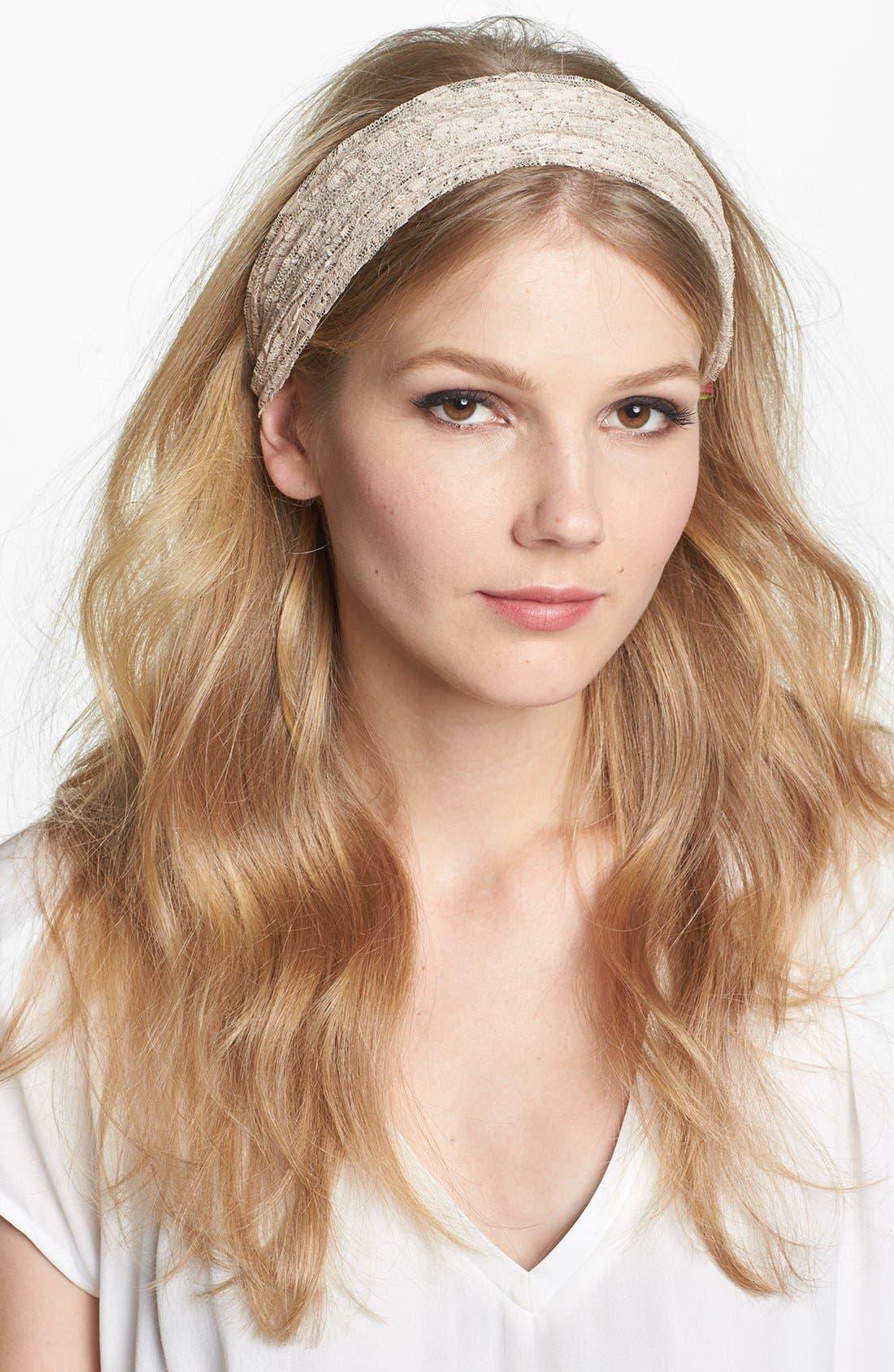 Main Image - Cara Pleated Lace Head Wrap