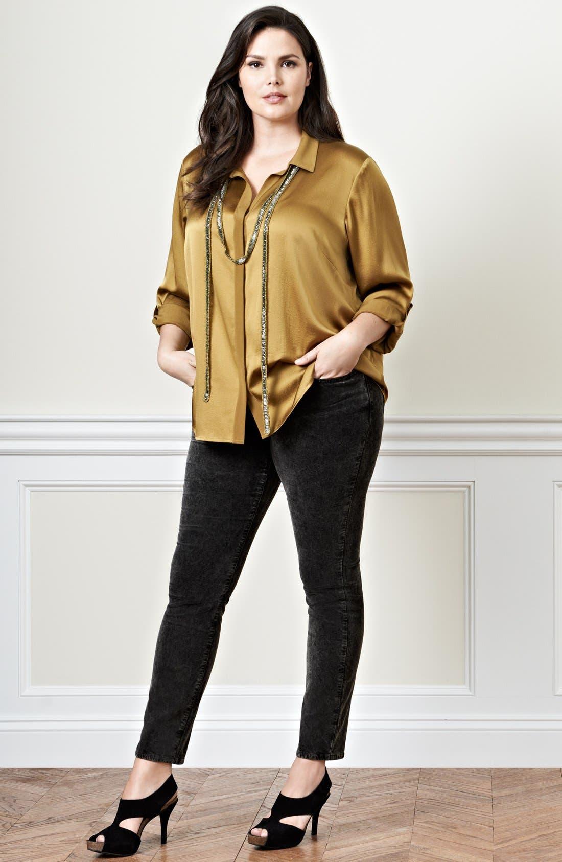 Alternate Image 4  - Eileen Fisher Velveteen Stretch Jeans (Plus Size)