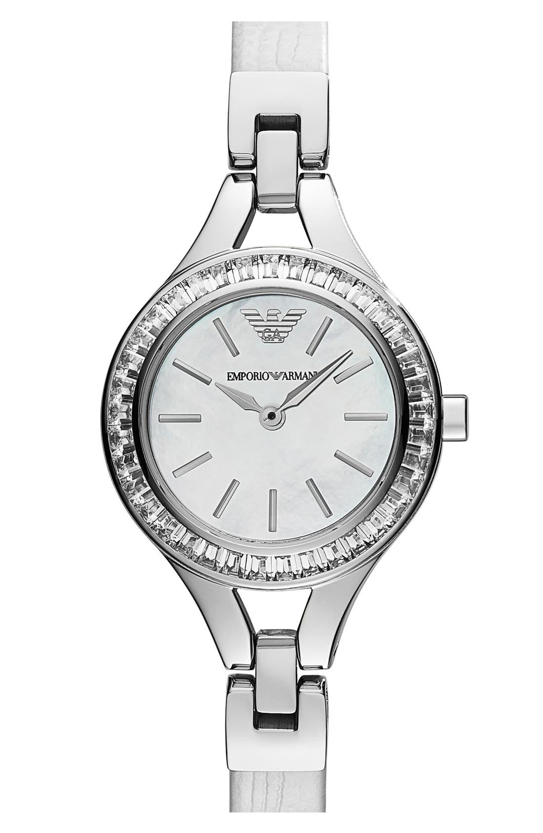 Main Image - Emporio Armani Baguette Crystal Bezel Leather Strap Watch, 28mm