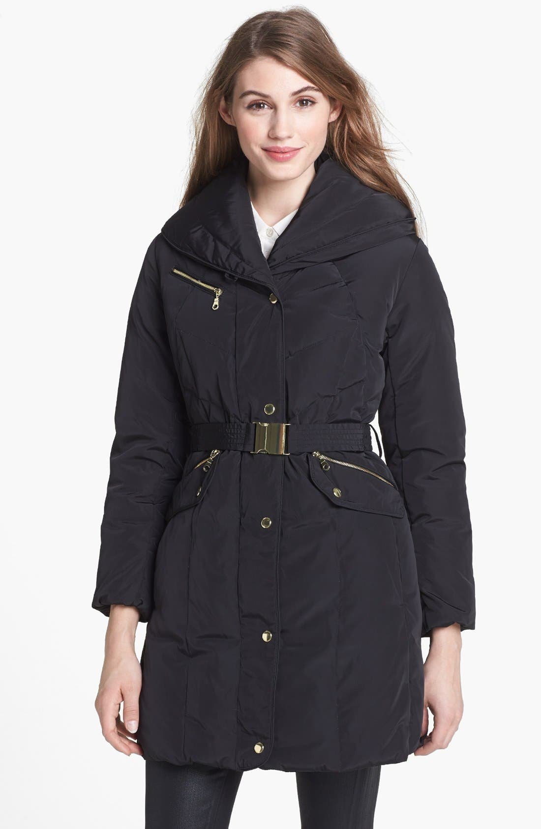 Main Image - Cole Haan Oversize Collar Down & Feather Coat (Petite)