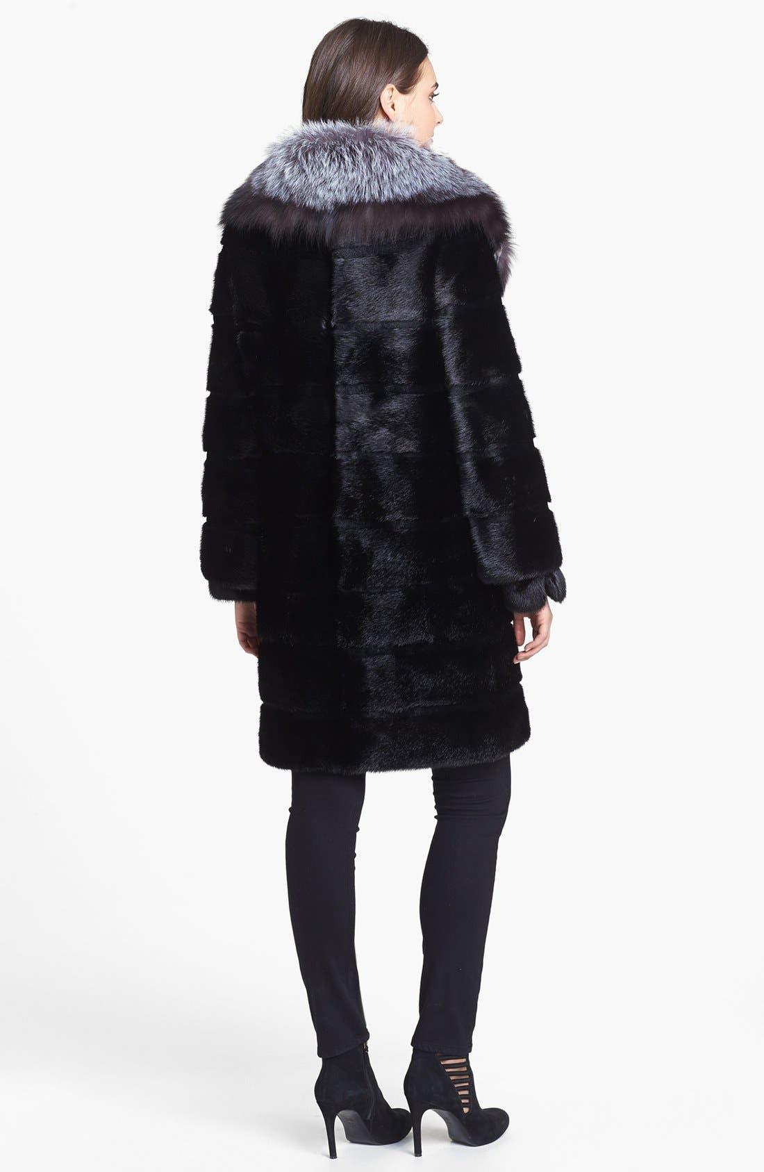 Alternate Image 2  - Belle Fare Genuine Mink & Fox Fur Coat