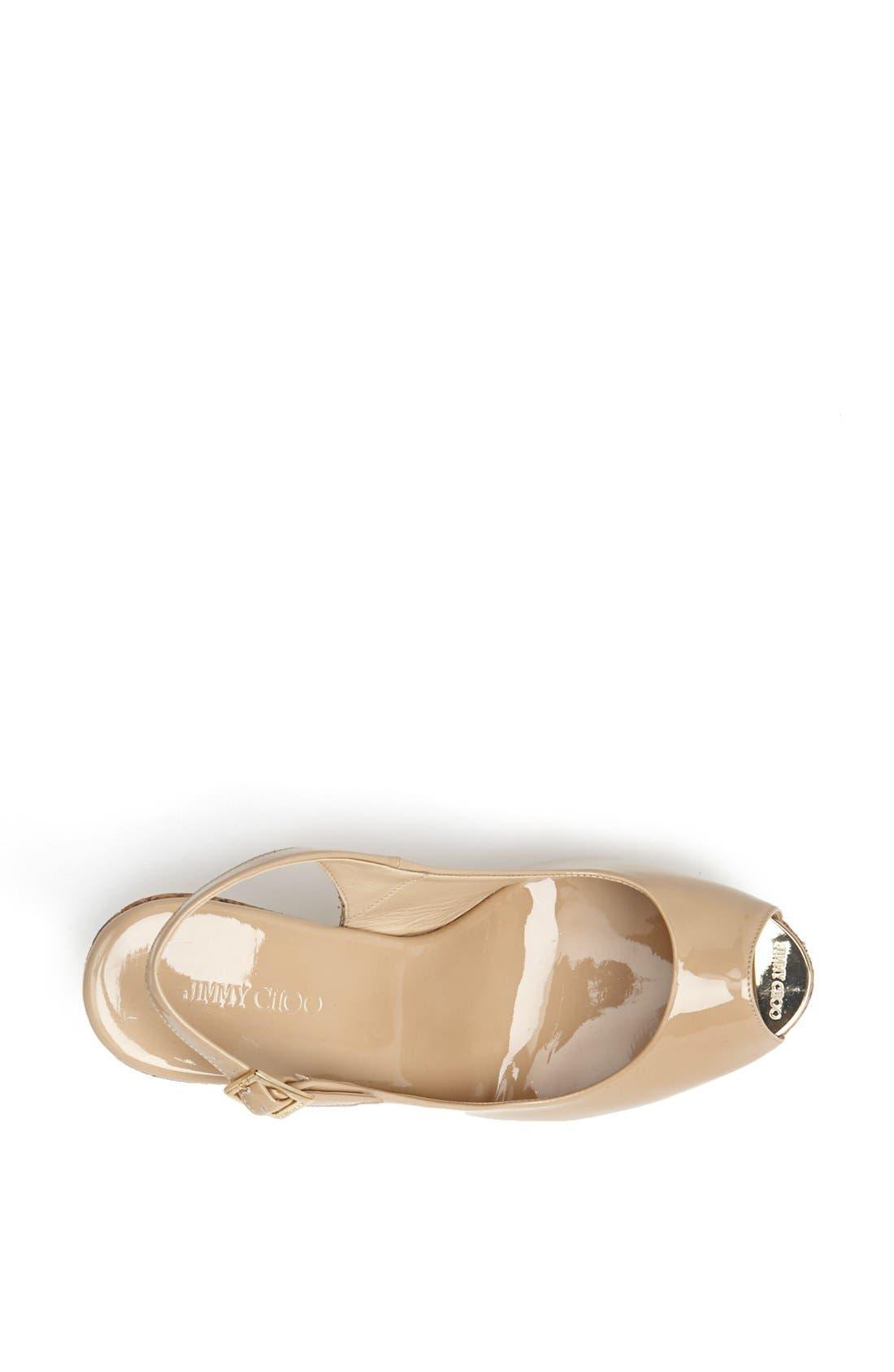 'Prova' Cork Slingback Wedge Sandal,                             Alternate thumbnail 3, color,                             Nude