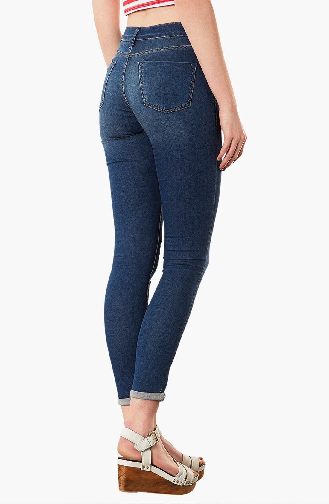 Alternate Image 2  - Topshop 'Leigh' Skinny Ankle Jeans (Mid Stone) (Petite)