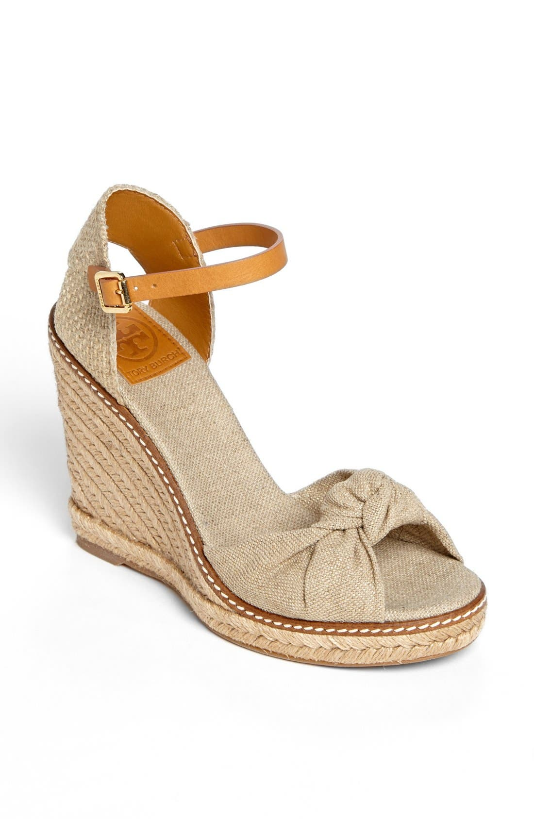 Main Image - Tory Burch 'Macy' Leather Wedge Espadrille Sandal