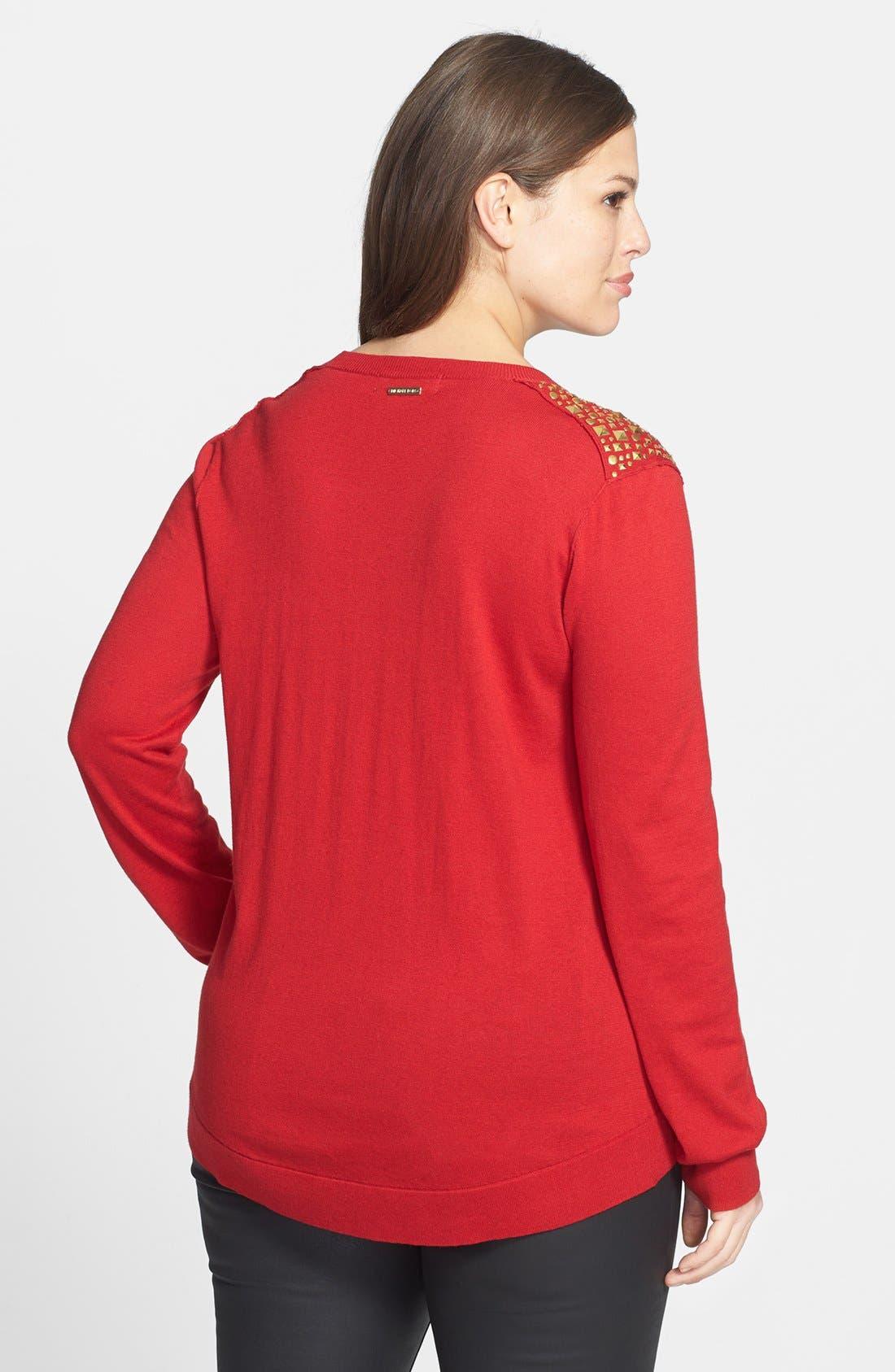 Alternate Image 2  - MICHAEL Michael Kors Studded Shoulder Sweater (Plus Size)