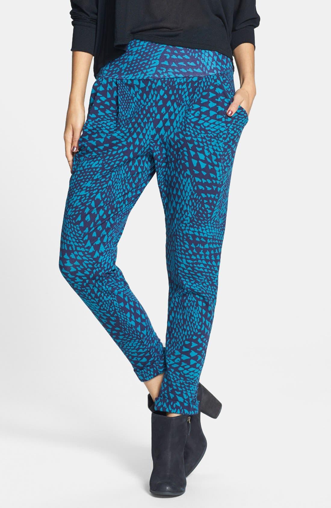 Pleat Knit Slouchy Pants,                         Main,                         color, Blue Print