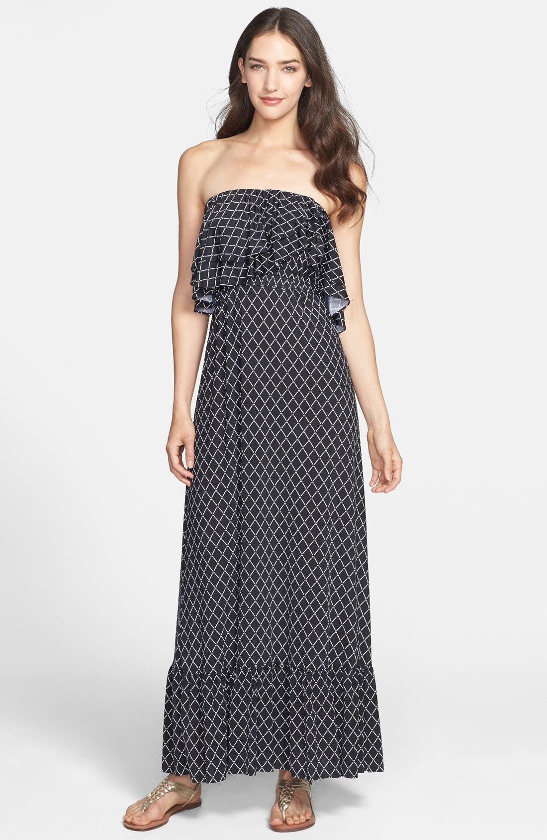 Main Image - Tbags Los Angeles Ruffle Trim Jersey Maxi Dress