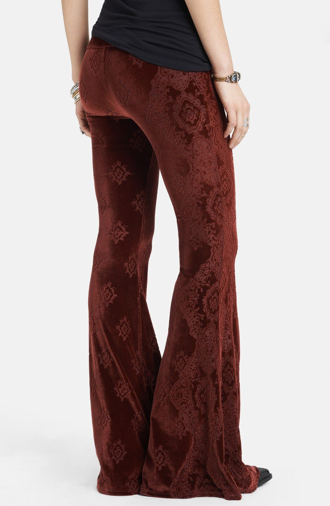 Alternate Image 2  - Free People Patterned Velvet Flared Pants