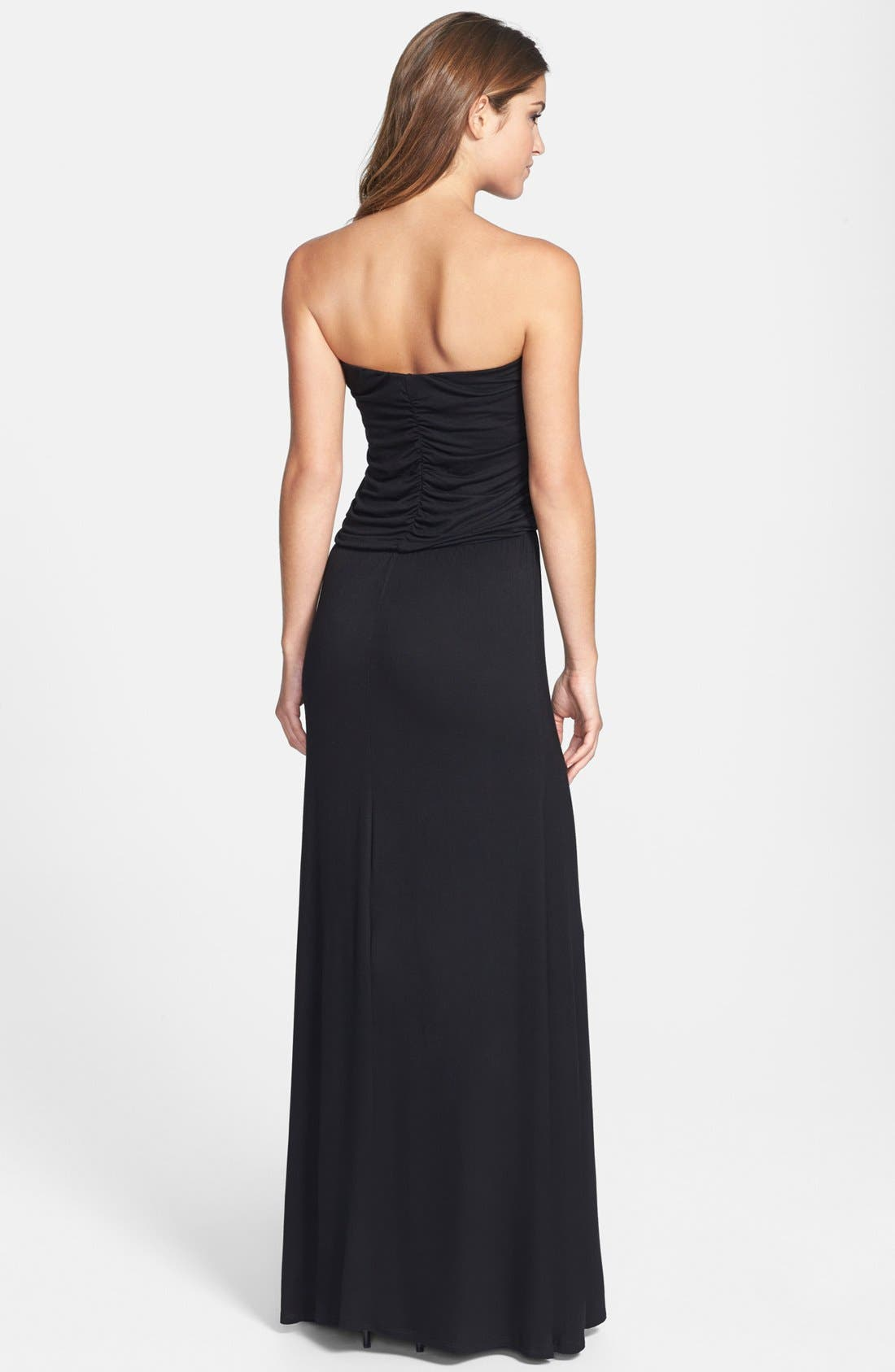 Alternate Image 2  - Loveappella Shirred Strapless Maxi Dress (Petite)