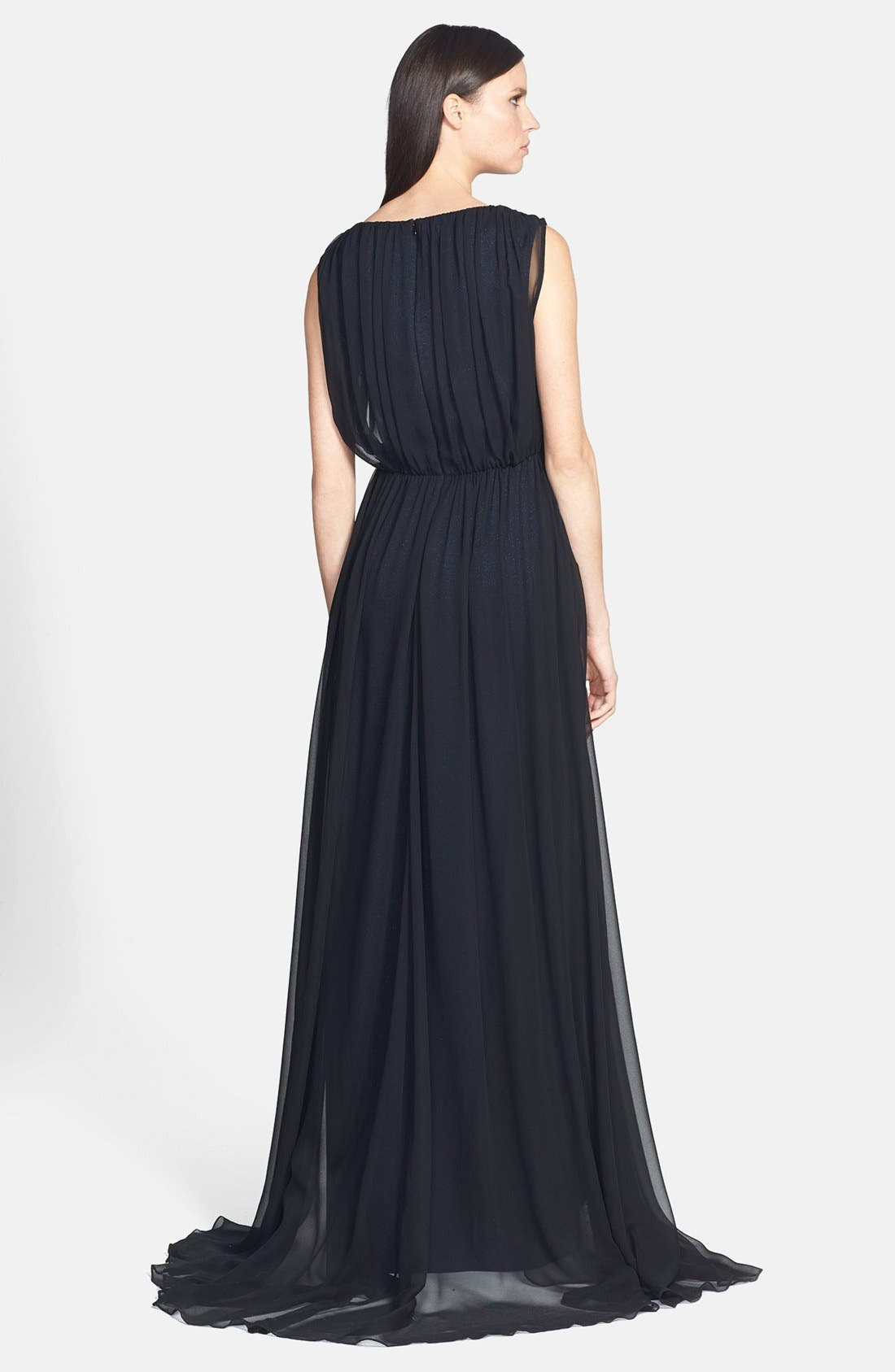 Alternate Image 2  - St. John Collection Sparkle Milano Knit Gown with Silk Chiffon Overlay